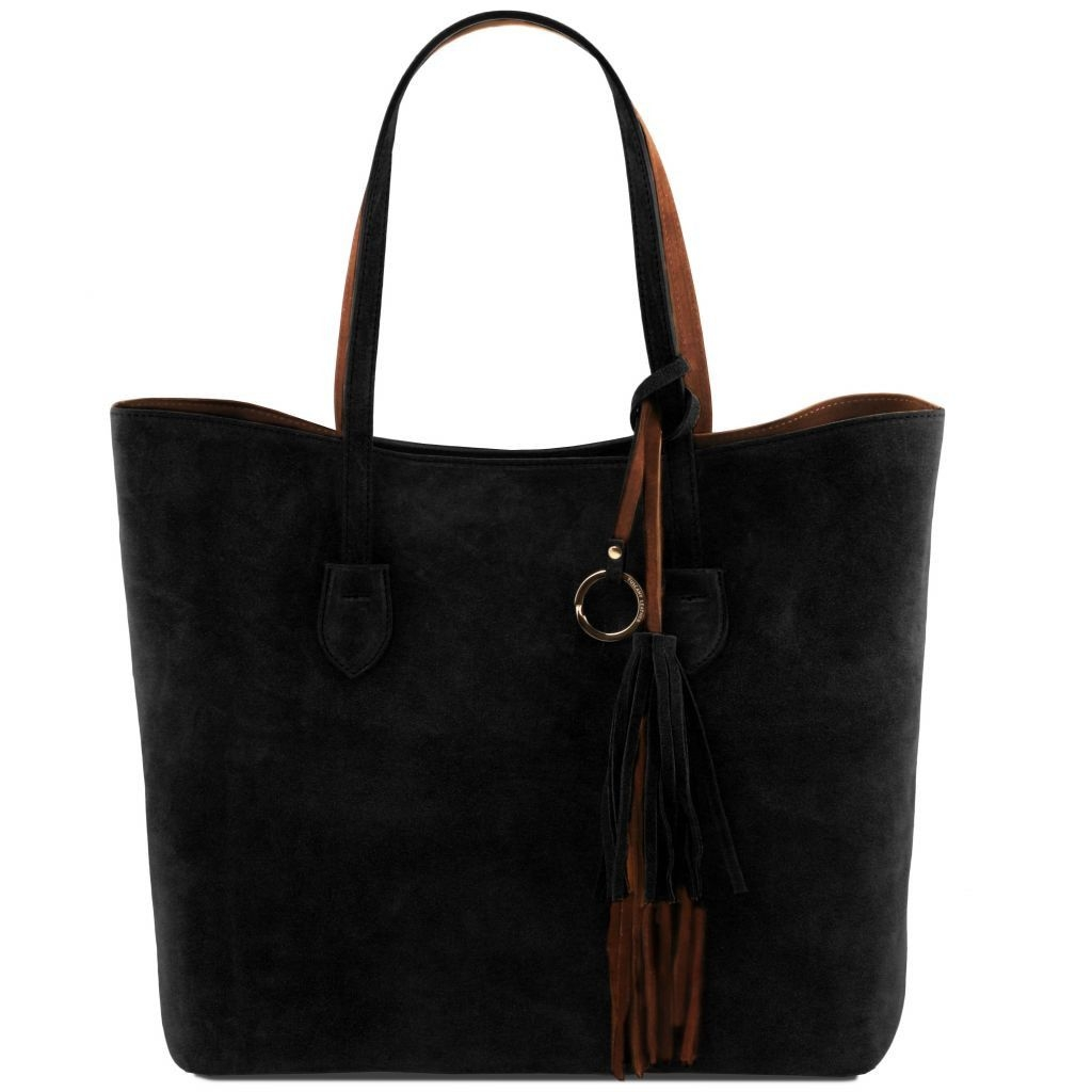 Tuscany Leather TL141639 TL Bag - Suede leather shopping bag Black