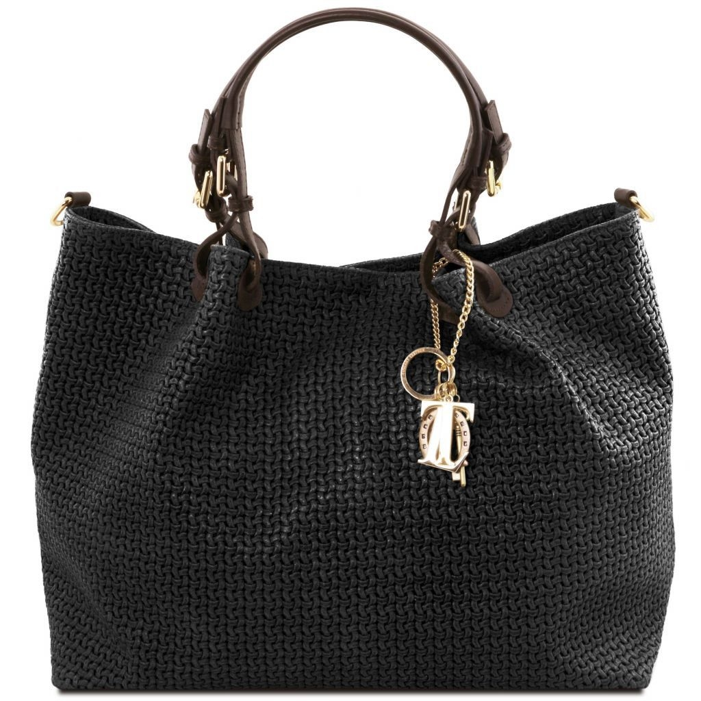 Tuscany Leather TL141568 TL KeyLuck - Woven printed leather TL SMART shopping bag - Large size Black