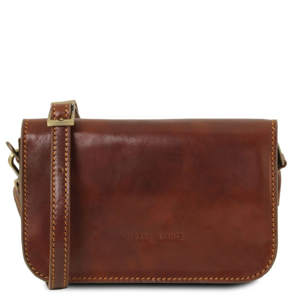 Tuscany Leather TL141713 Carmen - Leather shoulder bag with flap Brown