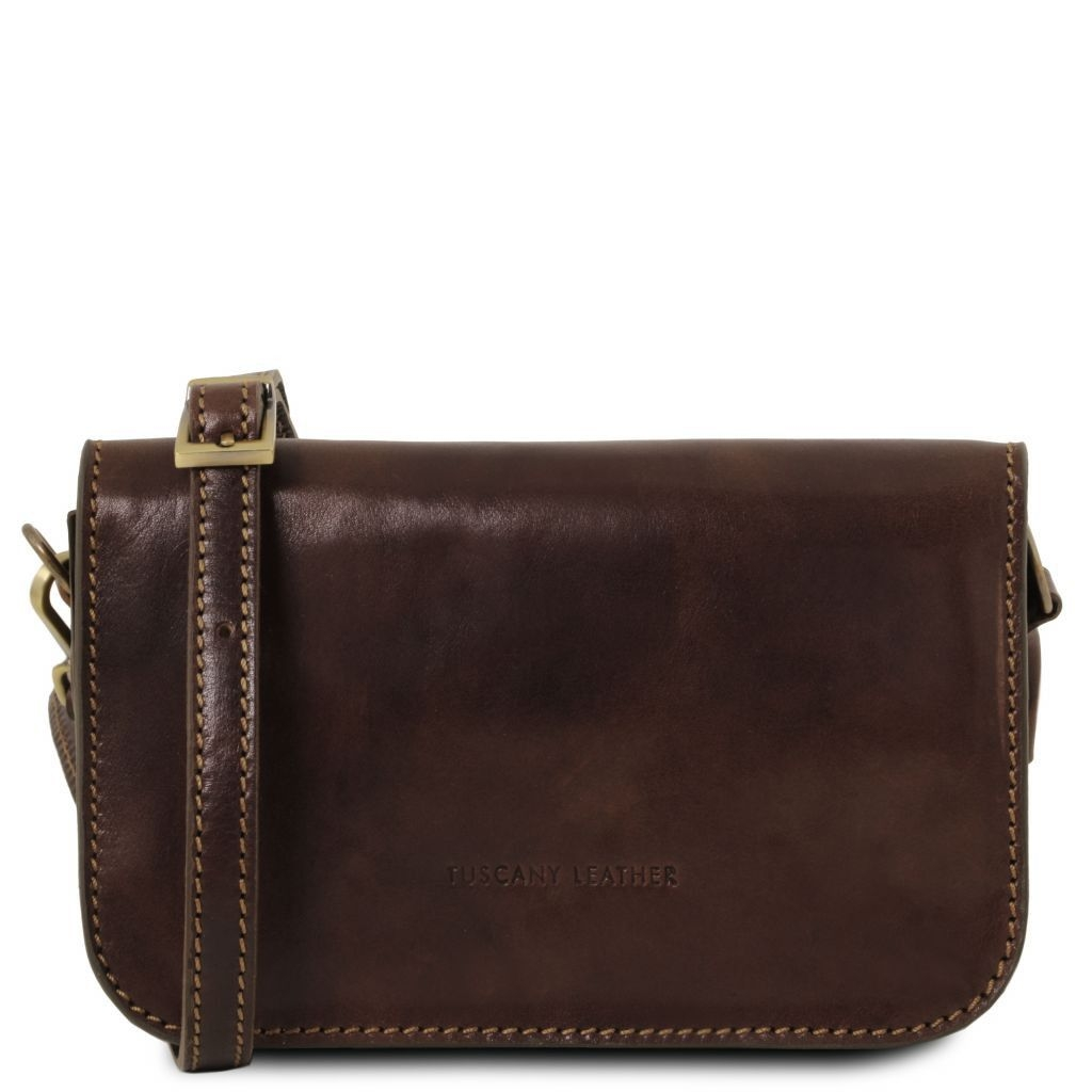 Tuscany Leather TL141713 Carmen - Leather shoulder bag with flap Dark Brown