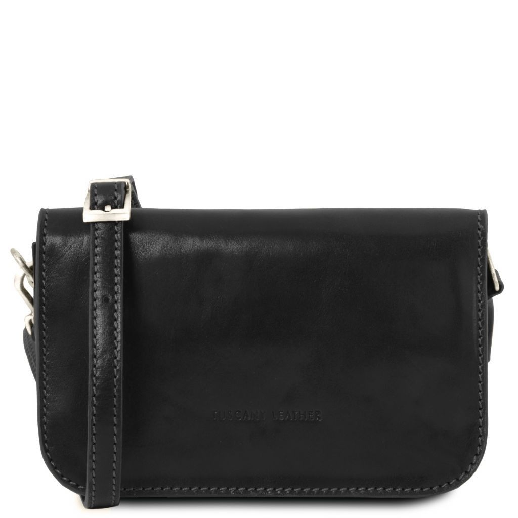 Tuscany Leather TL141713 Carmen - Leather shoulder bag with flap Black