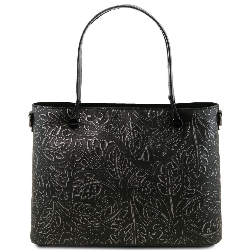 Tuscany Leather TL141655 Atena - Leather shopping bag with floral pattern Black