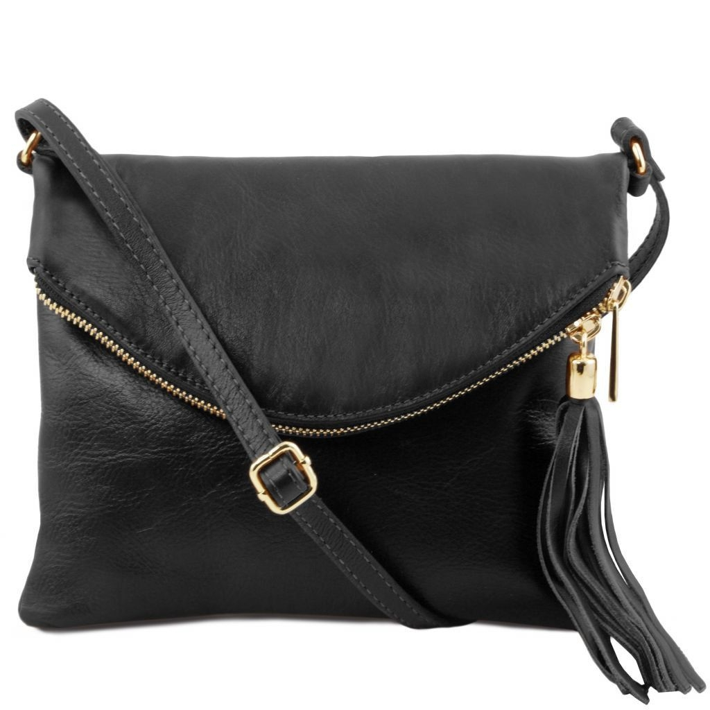 Tuscany Leather TL141153 TL Young bag - Shoulder bag with tassel detail Black