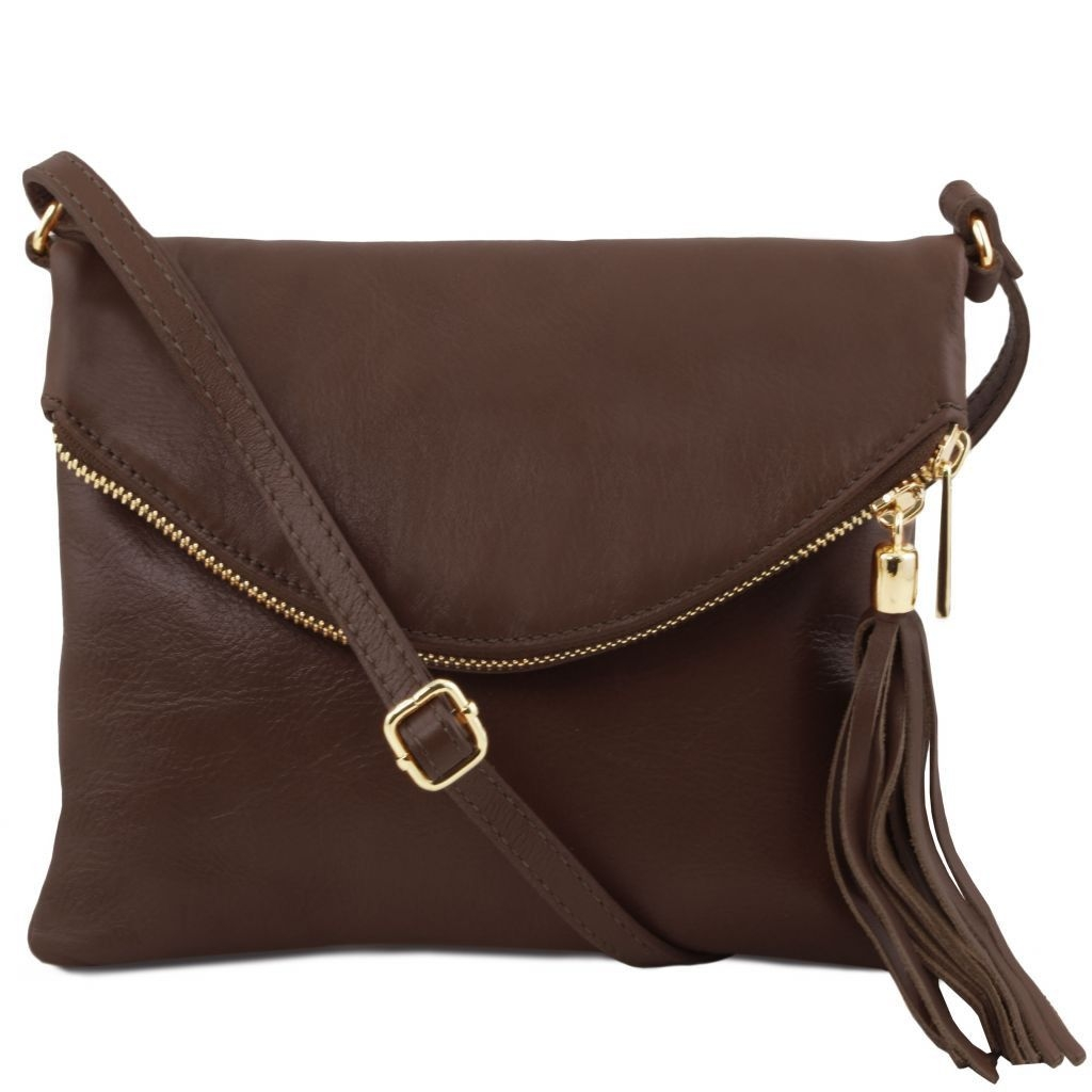 Tuscany Leather TL141153 TL Young bag - Shoulder bag with tassel detail Dark Brown