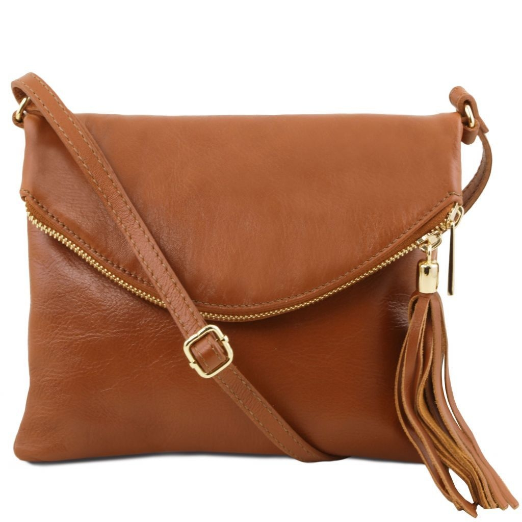 Tuscany Leather TL141153 TL Young bag - Shoulder bag with tassel detail  Cognac c41577e09050e