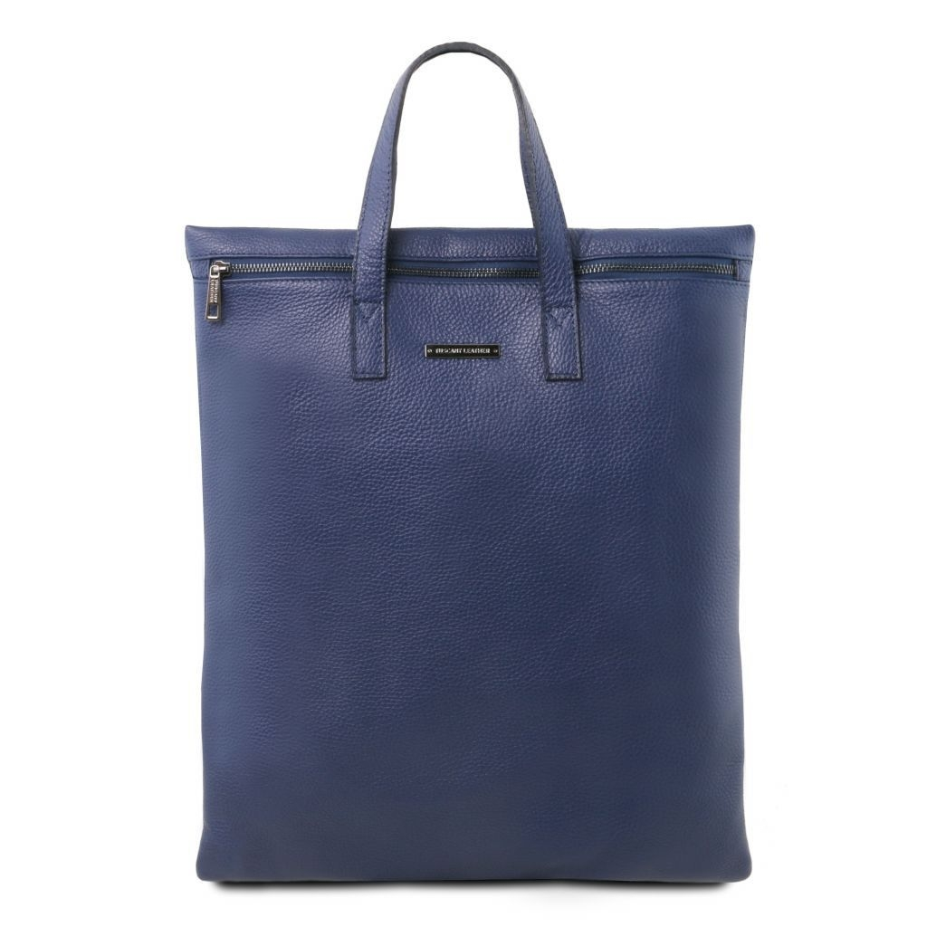 Tuscany Leather TL141680 TL Bag - Vertical soft leather shoulder bag Dark Blue