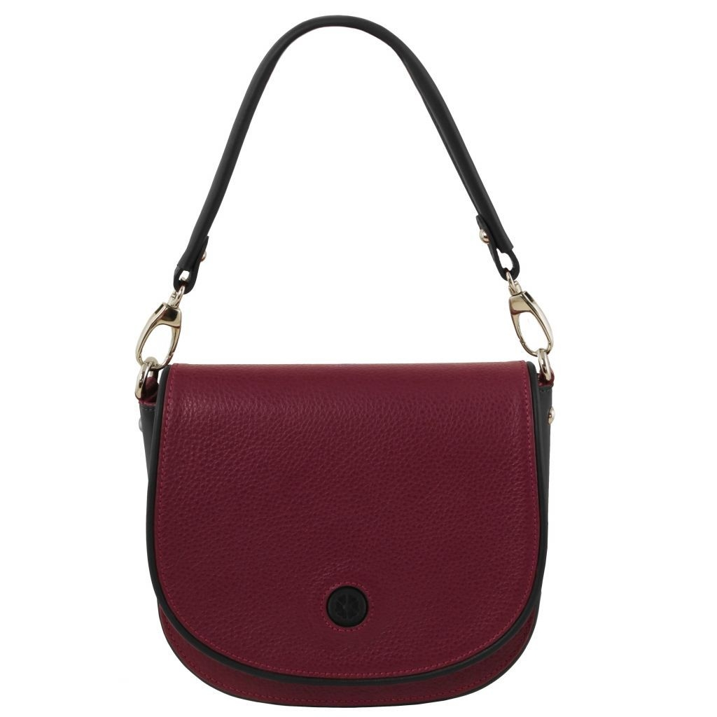 Tuscany Leather TL141726 Rosa - Leather clutch with shoulder strap Bordeaux