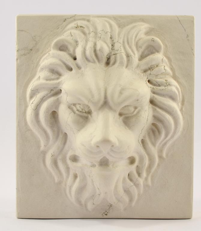 Buy Lion S Head Carved Marble Paperweight 17457381 | Queency.co.uk