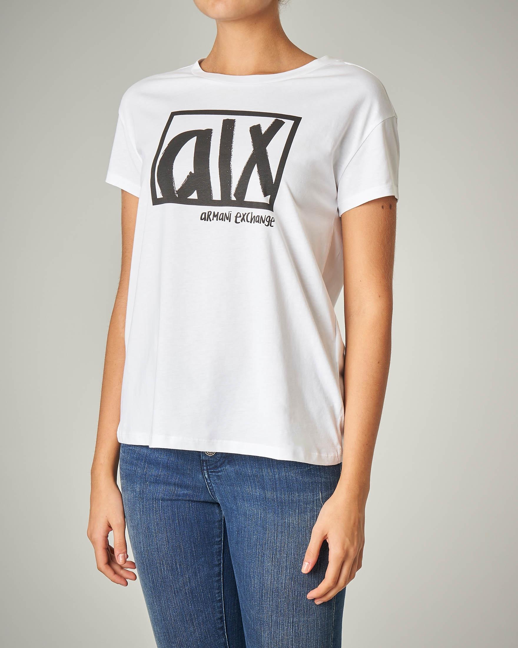 T-shirt bianca manica corta con logo stampato