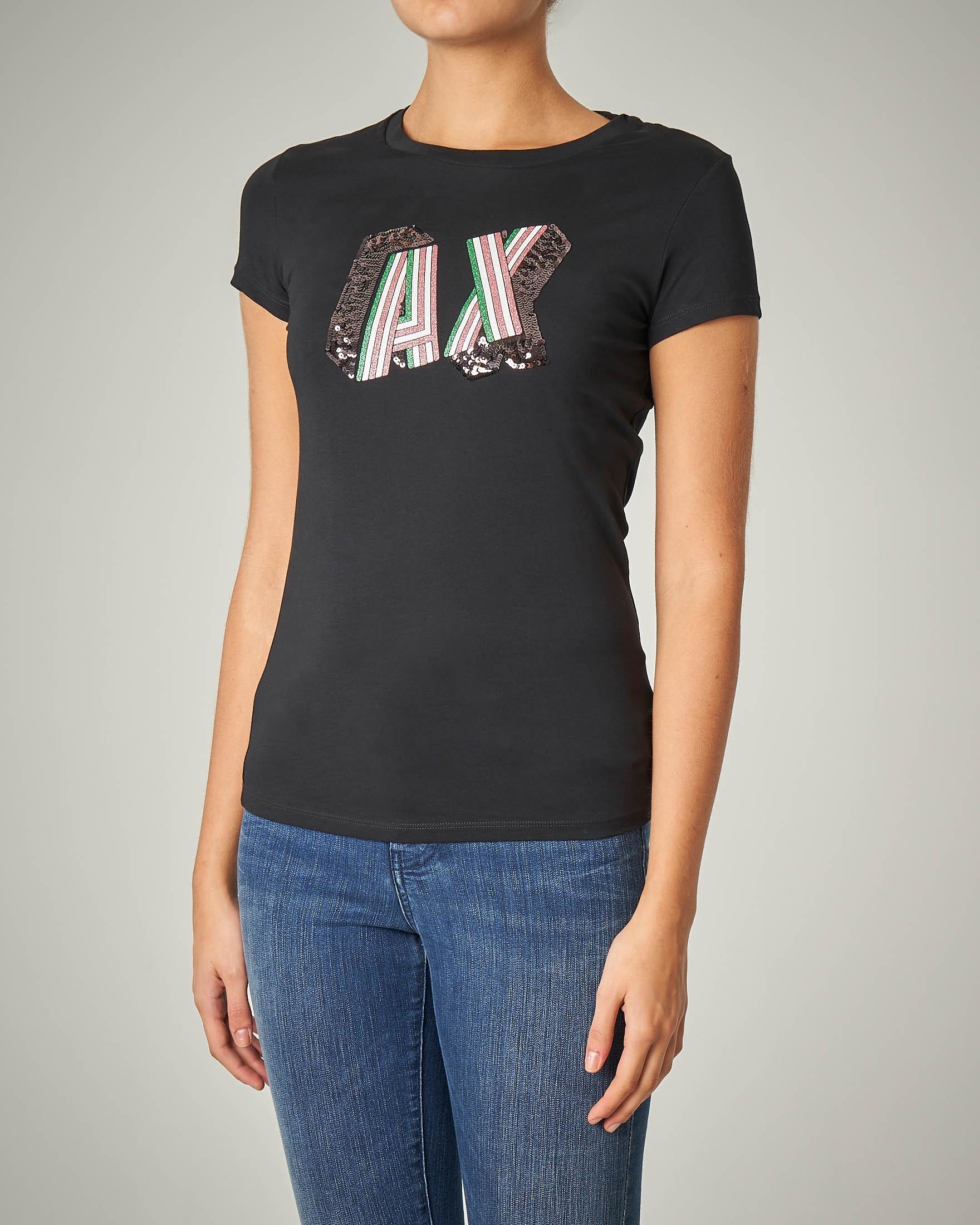 T-shirt nera manica corta con logo in paillettes
