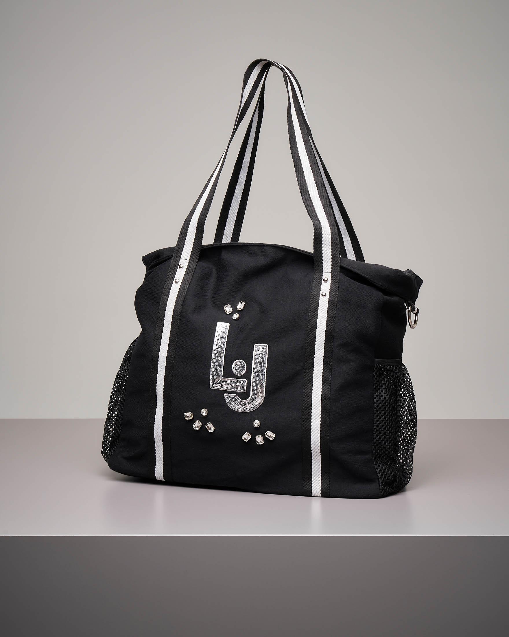 Shopping bag nera in felpa con logo