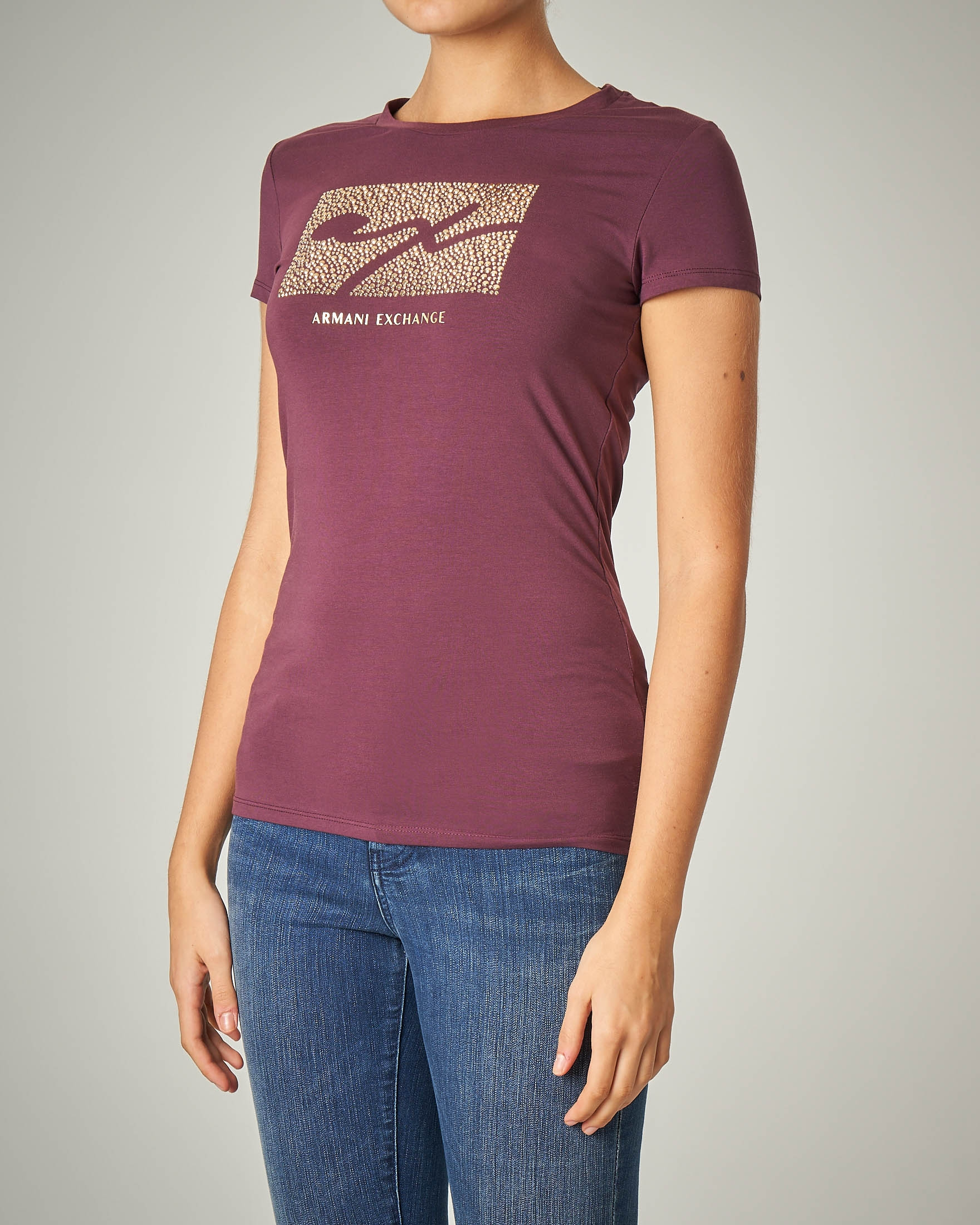 T-shirt bordeaux manica corta con logo con borchie