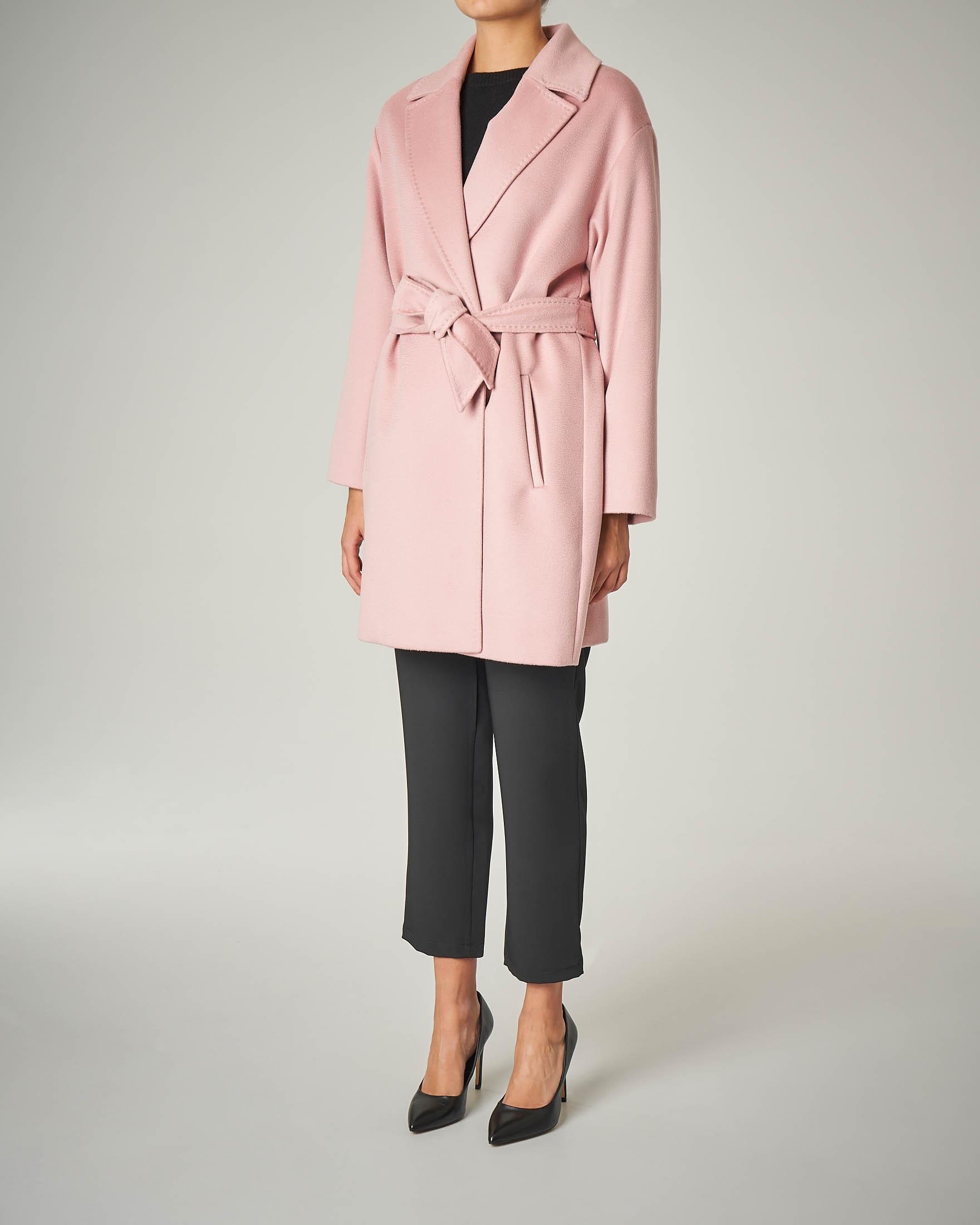 Cappotto rosa a vestaglia in pura lana