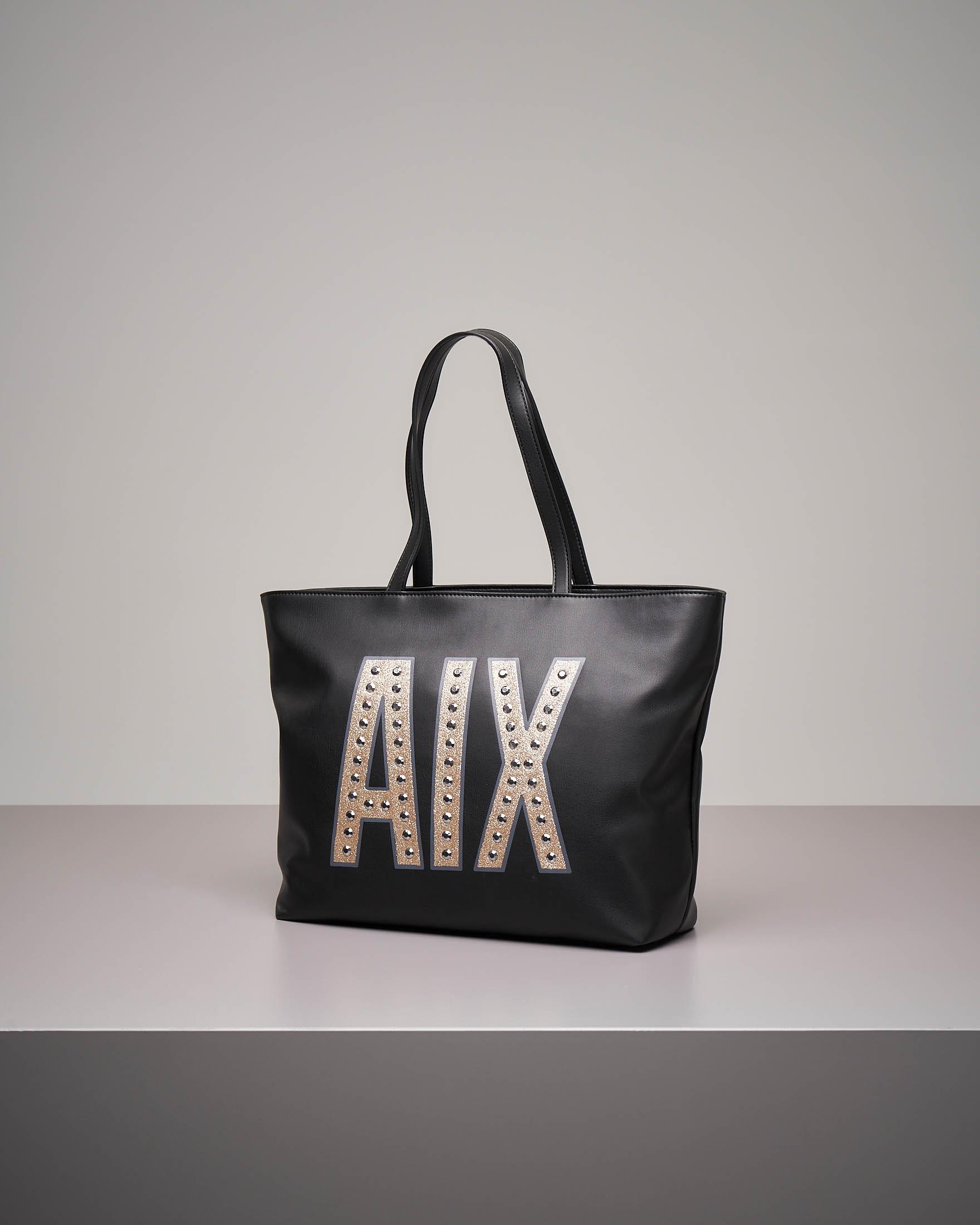 Shopping bag nera con maxi logo