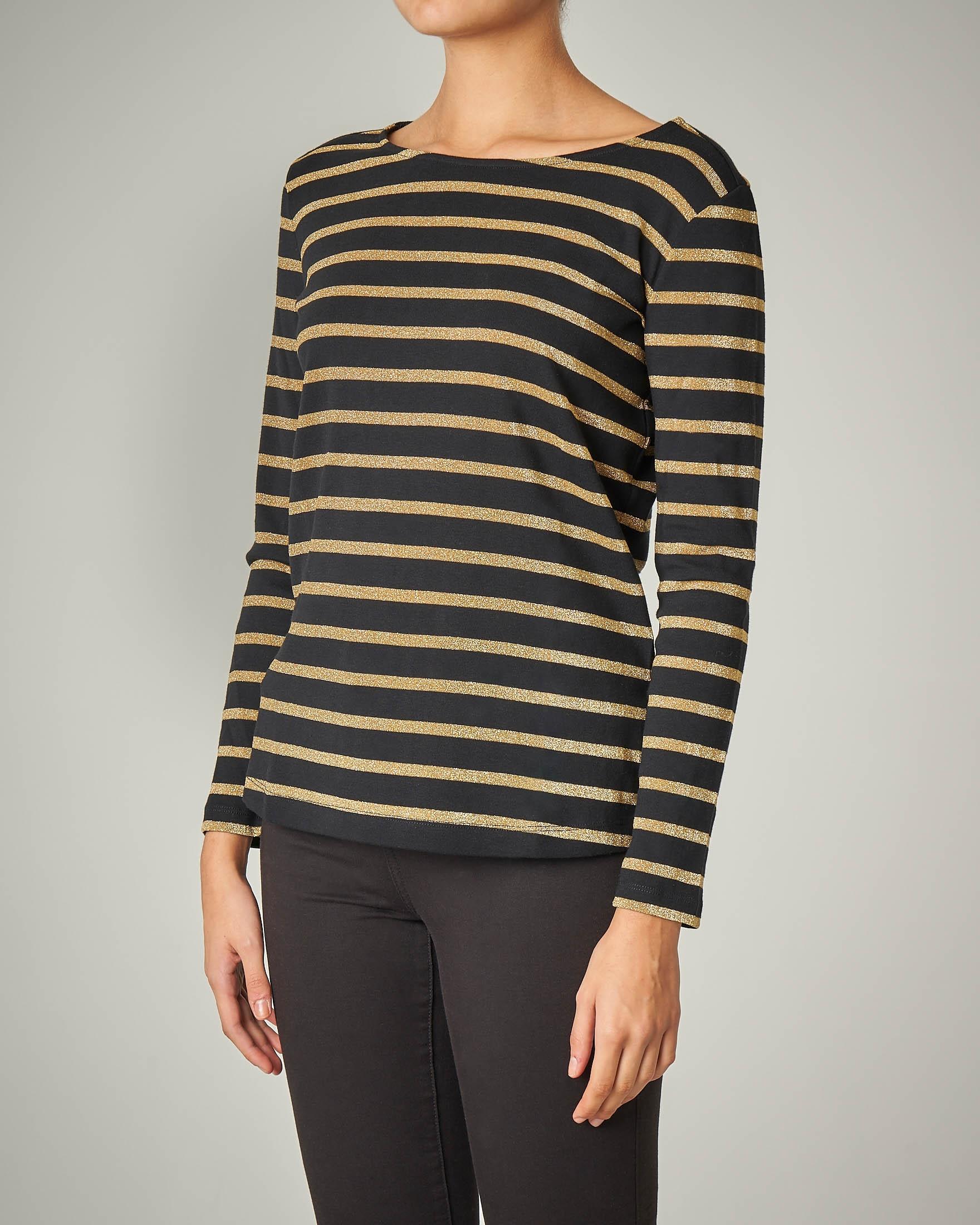 T-shirt manica lunga a righe oro e nere