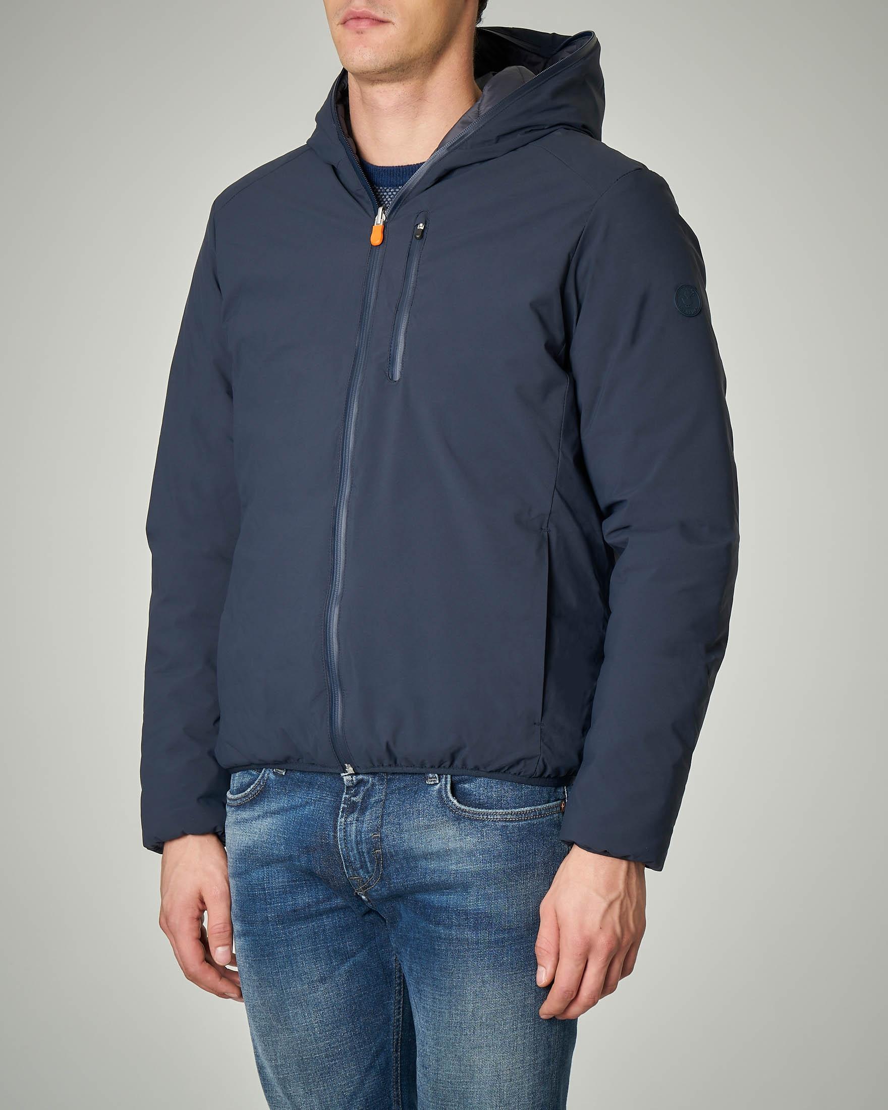 Giacca blu reversibile con cappuccio