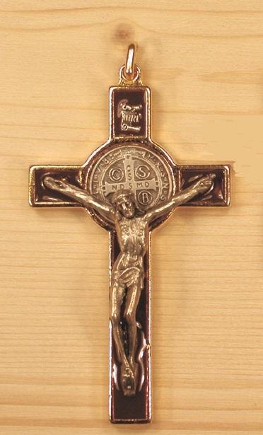 Croce metallo dorato S. Benedetto