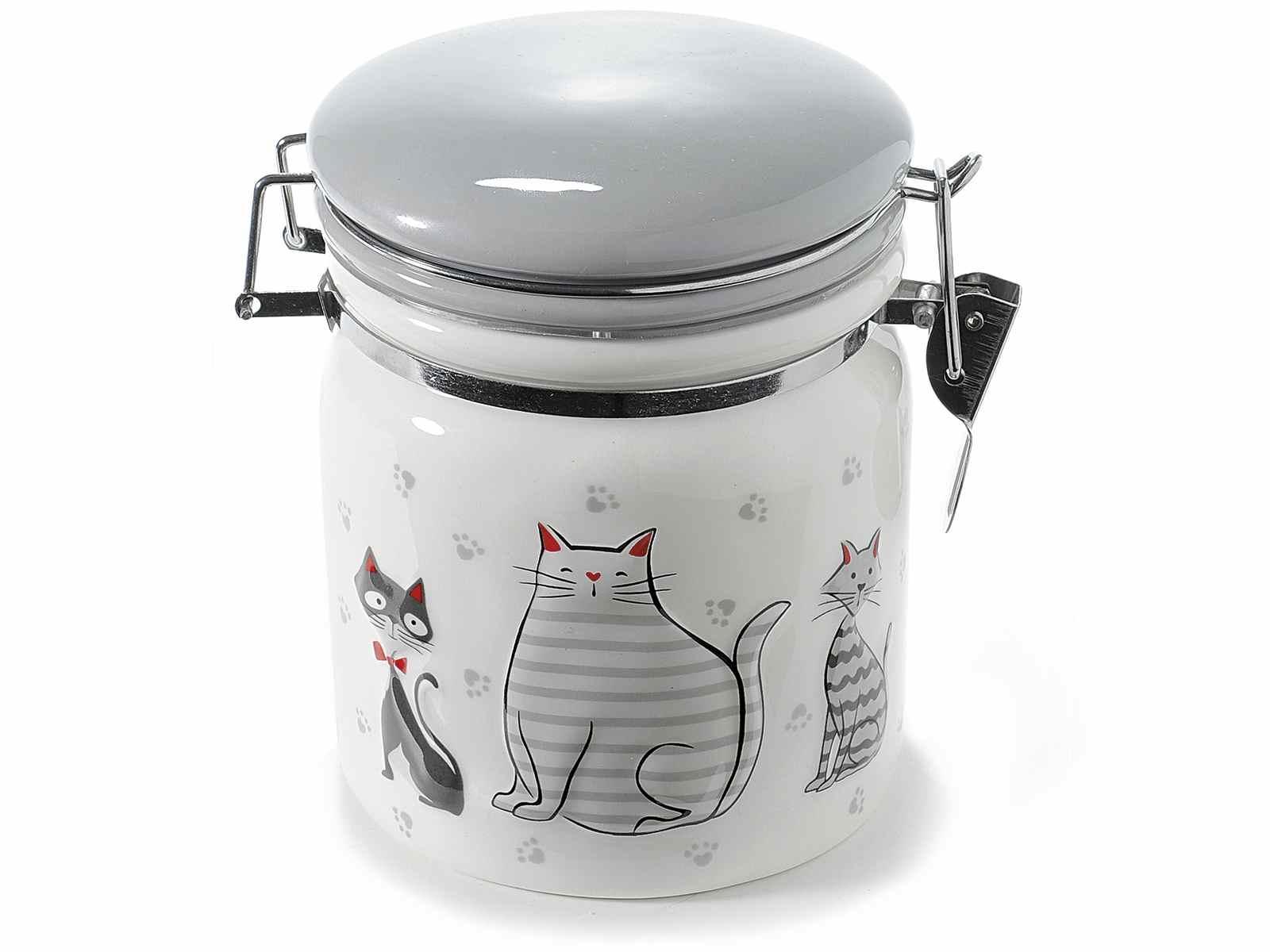 Barattolo in ceramica con decoro gatti e chiusura ermetica (713472)