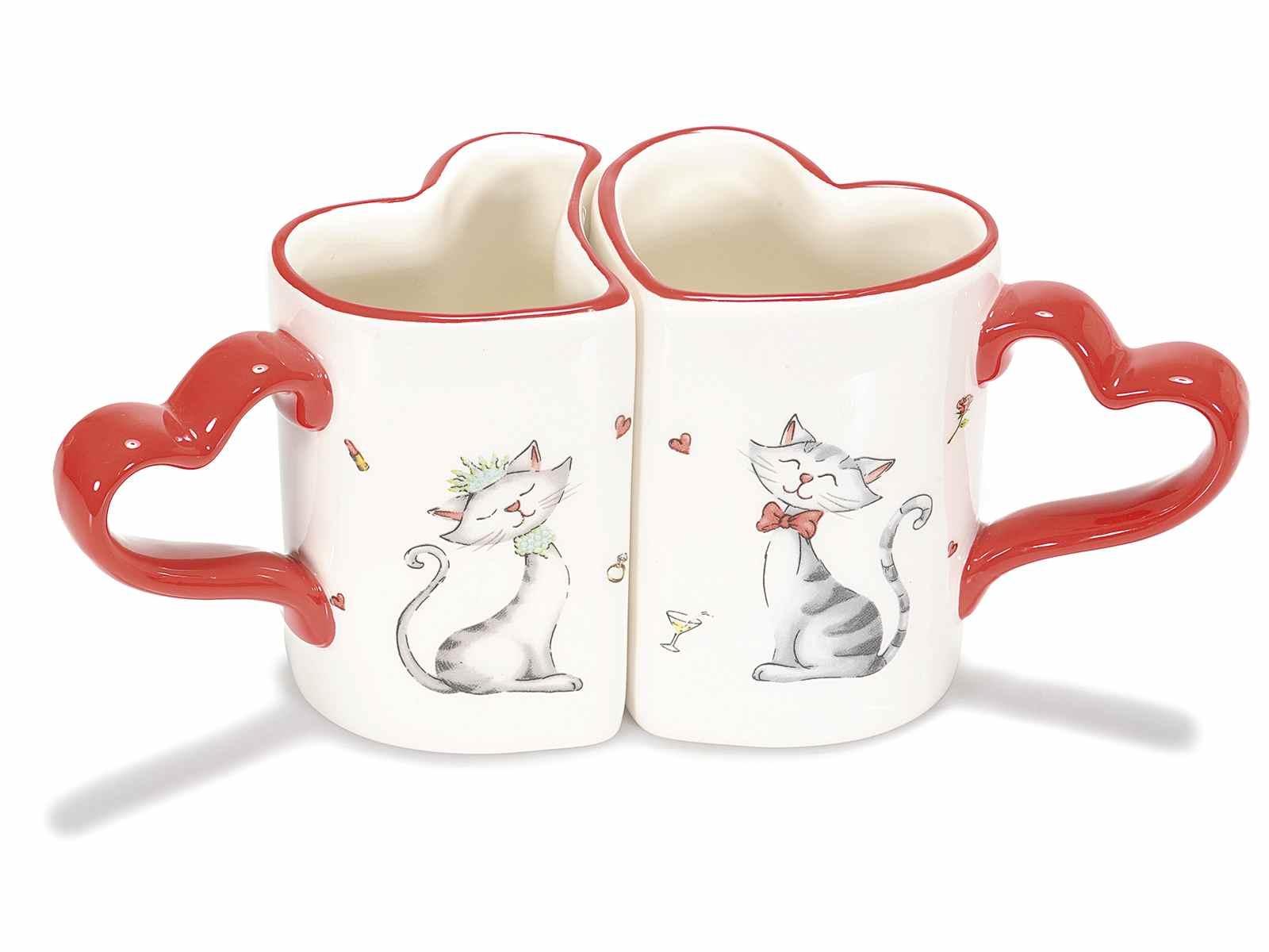 Set di due tazzine a cuore con i gattini innamorati  (713141)