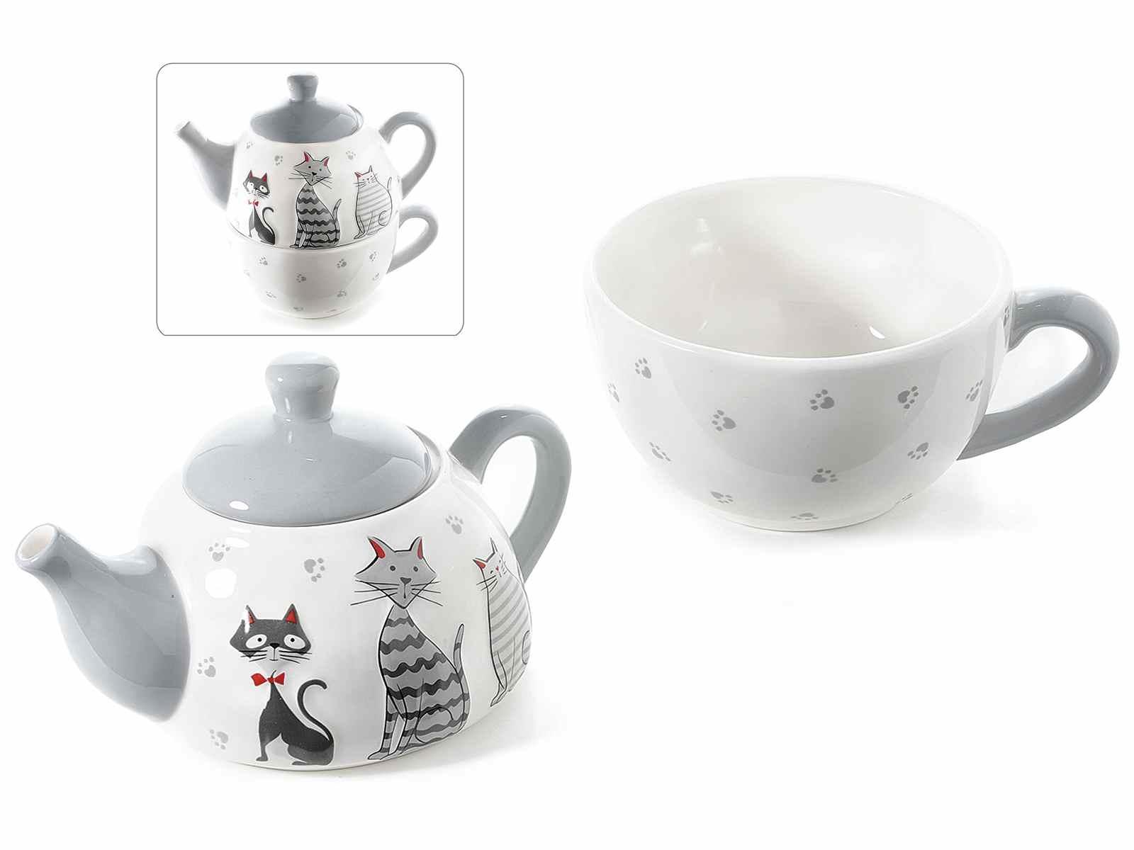 Teiera e tazza in ceramica con disegnato dei Gattini (713583)