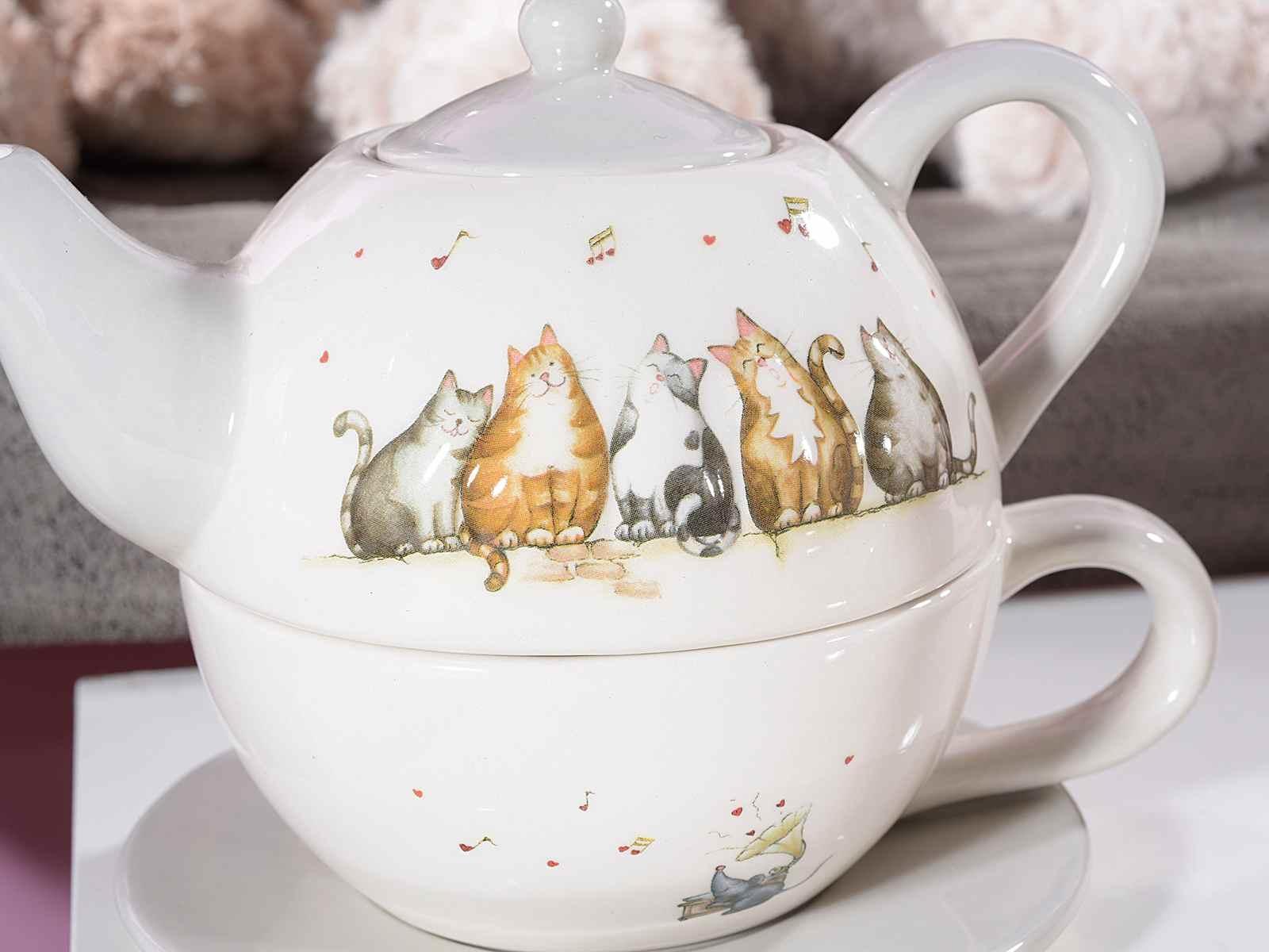 Teiera e tazza con piattino in ceramica decorata da gatti e note musicali in rilievo (713405)