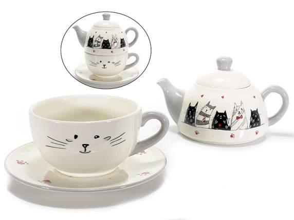 Teiera e tazza in ceramica decorata con gatti innamorati in rilievo (712889)