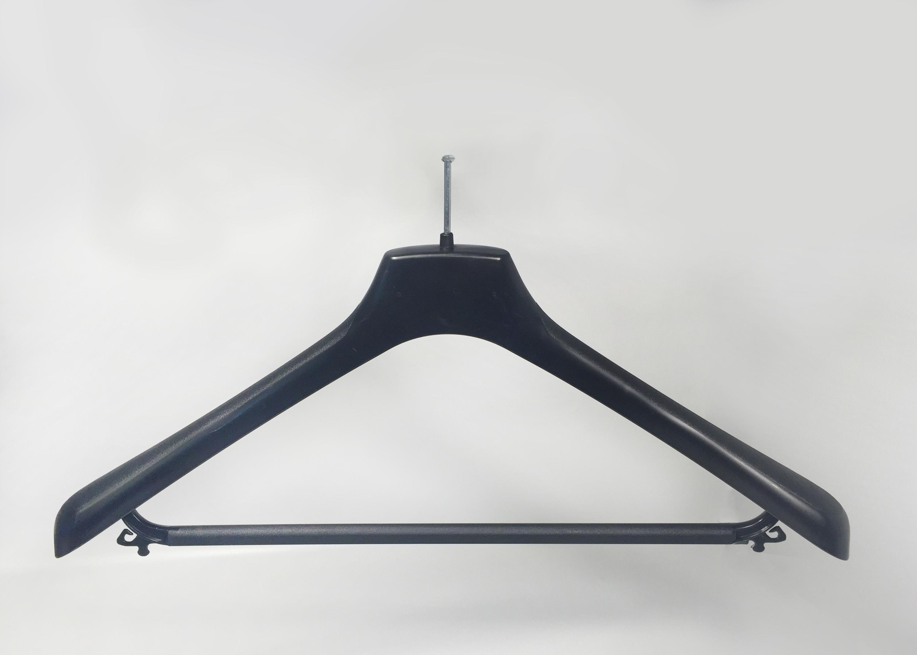 BLACK PLASTIC HANGER WITH ANTI-THEFT HOOK