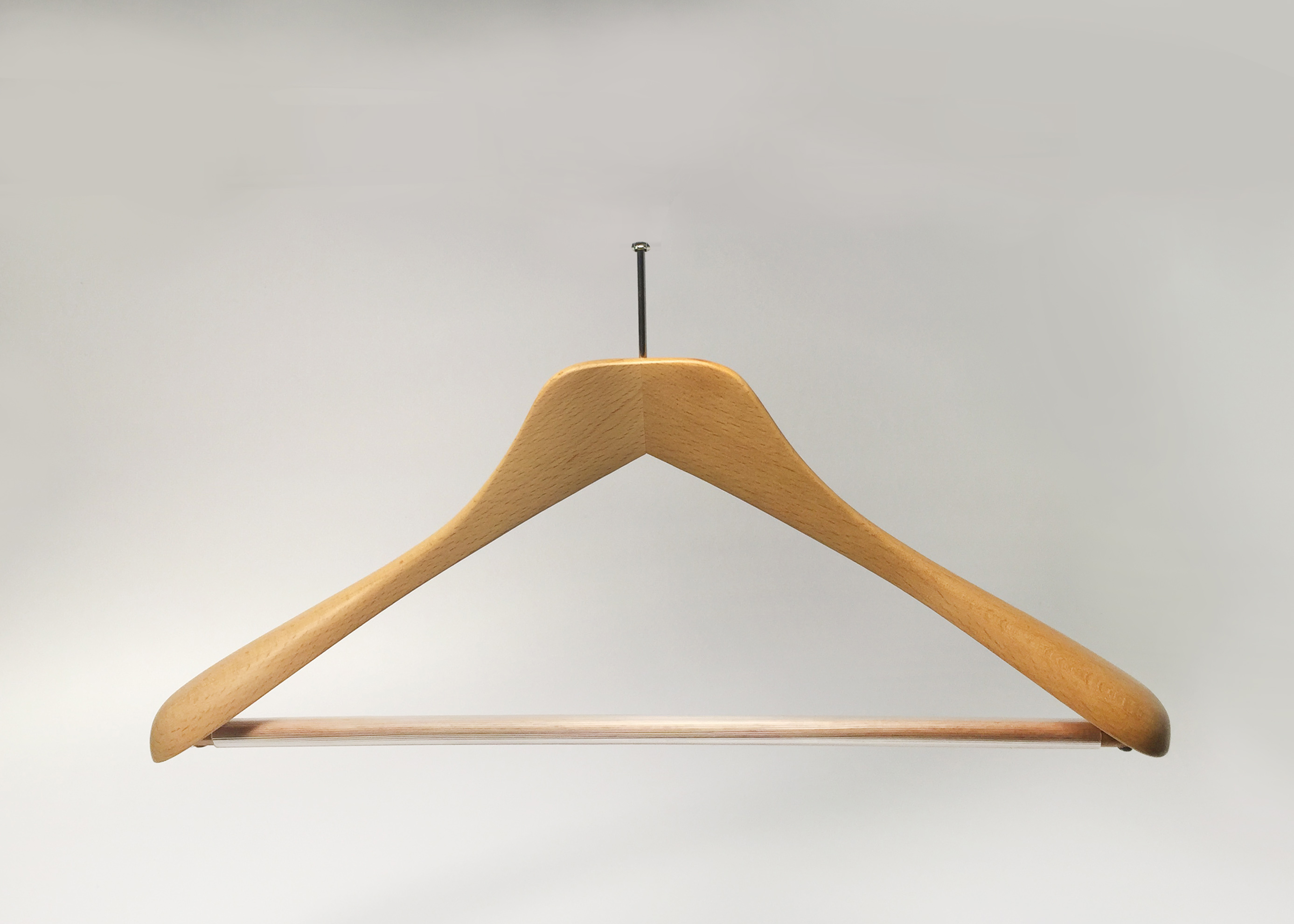 PAINTED WOODEN HANGER WITH ANTI-THEFT HOOK