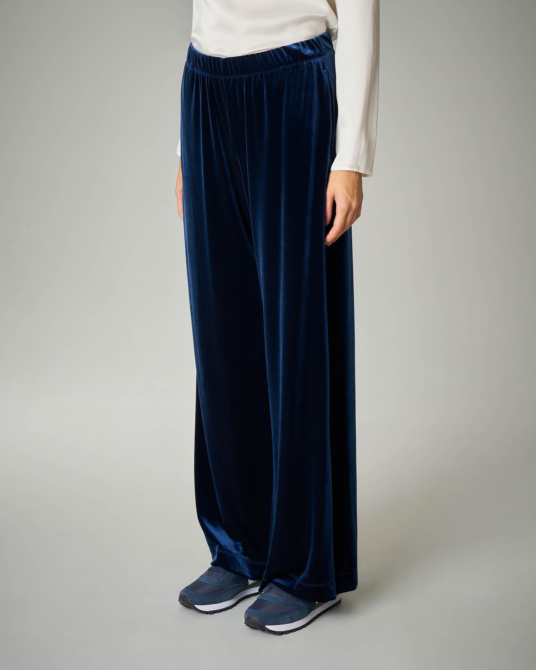 Pantalone palazzo blu in velluto