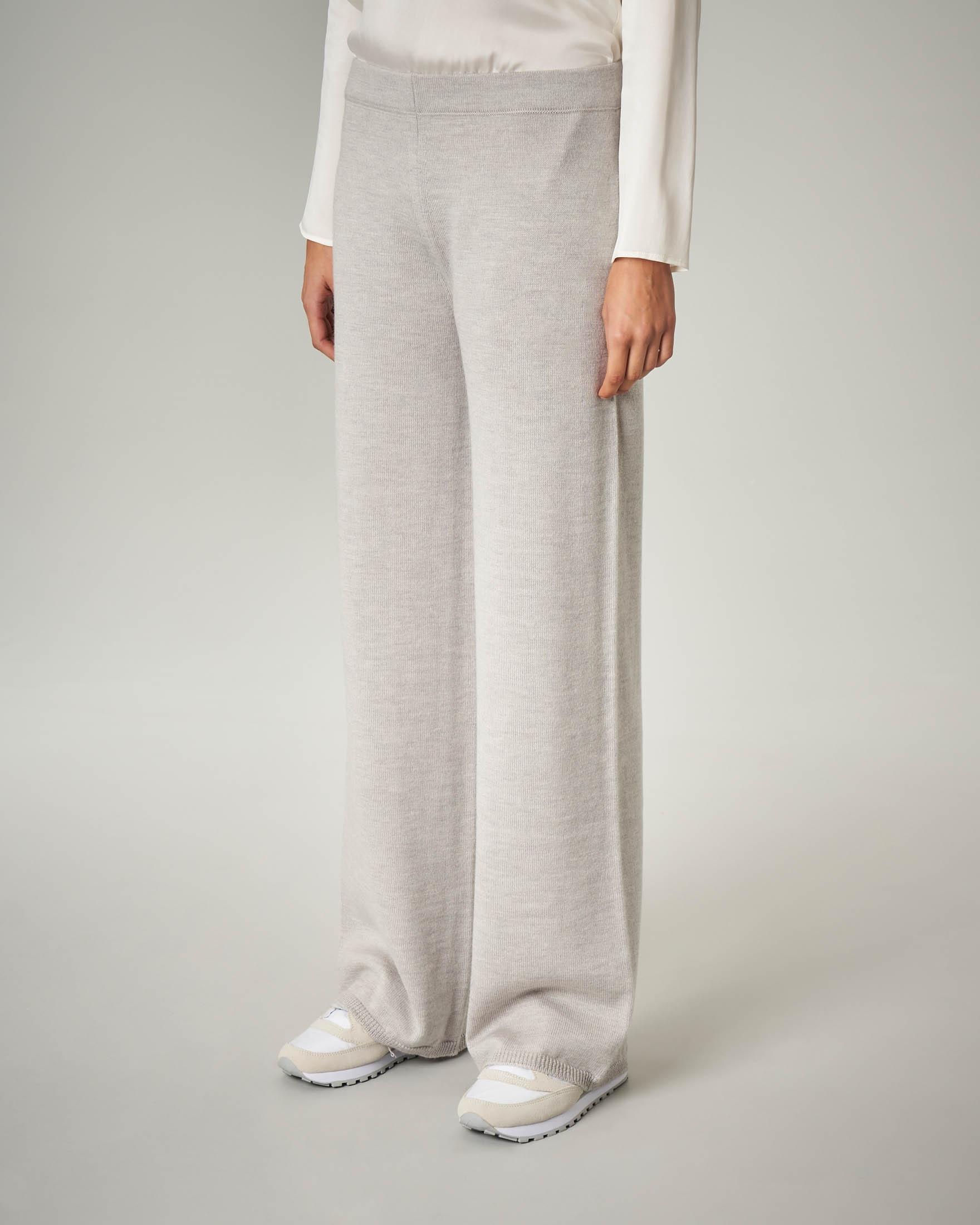 Pantalone palazzo grigio perla in lana