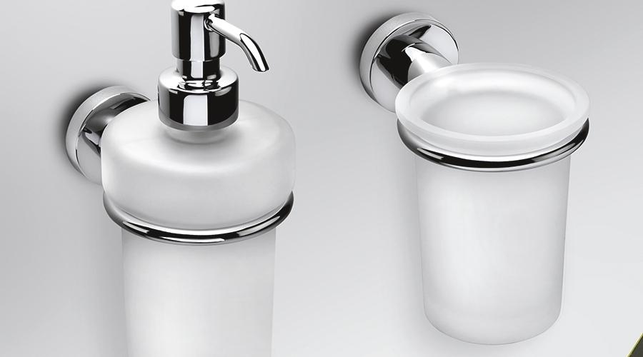 Dispenser dosa sapone liquido a parete per il bagno serie Basic Colombo design