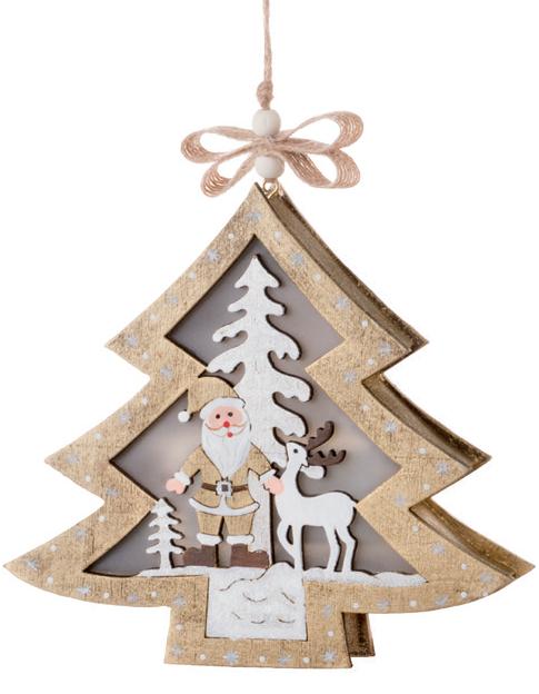 Albero Di Natale In Legno.Albero Di Natale In Legno Bianco E Oro Con Babbo Natale Renna E Albero Di Natale Con Illuminazione A Led Cm 13 5x2 5x12 5 Kasastyle