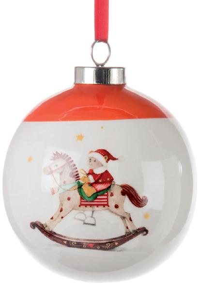 Babbo Natale 8 Gallery.Sfera In Porcellana Da Appensione Decoro Bimbo Abbigliato A Babbo Natale Su Cavallo A Dondolo Apice Rosso Diametro Cm 8 Kasastyle