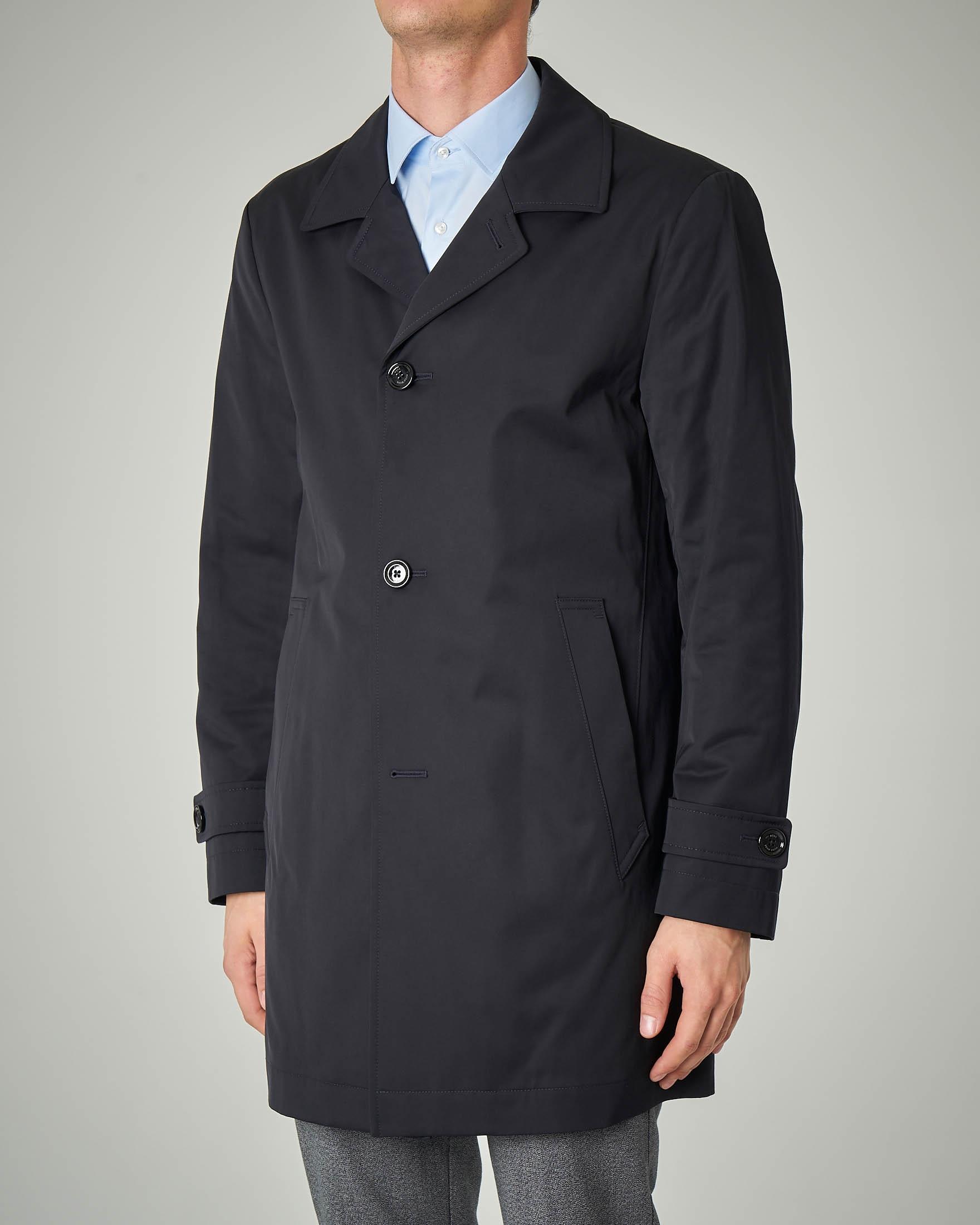 Cappotto blu impermeabile in twill tecnico di cotone