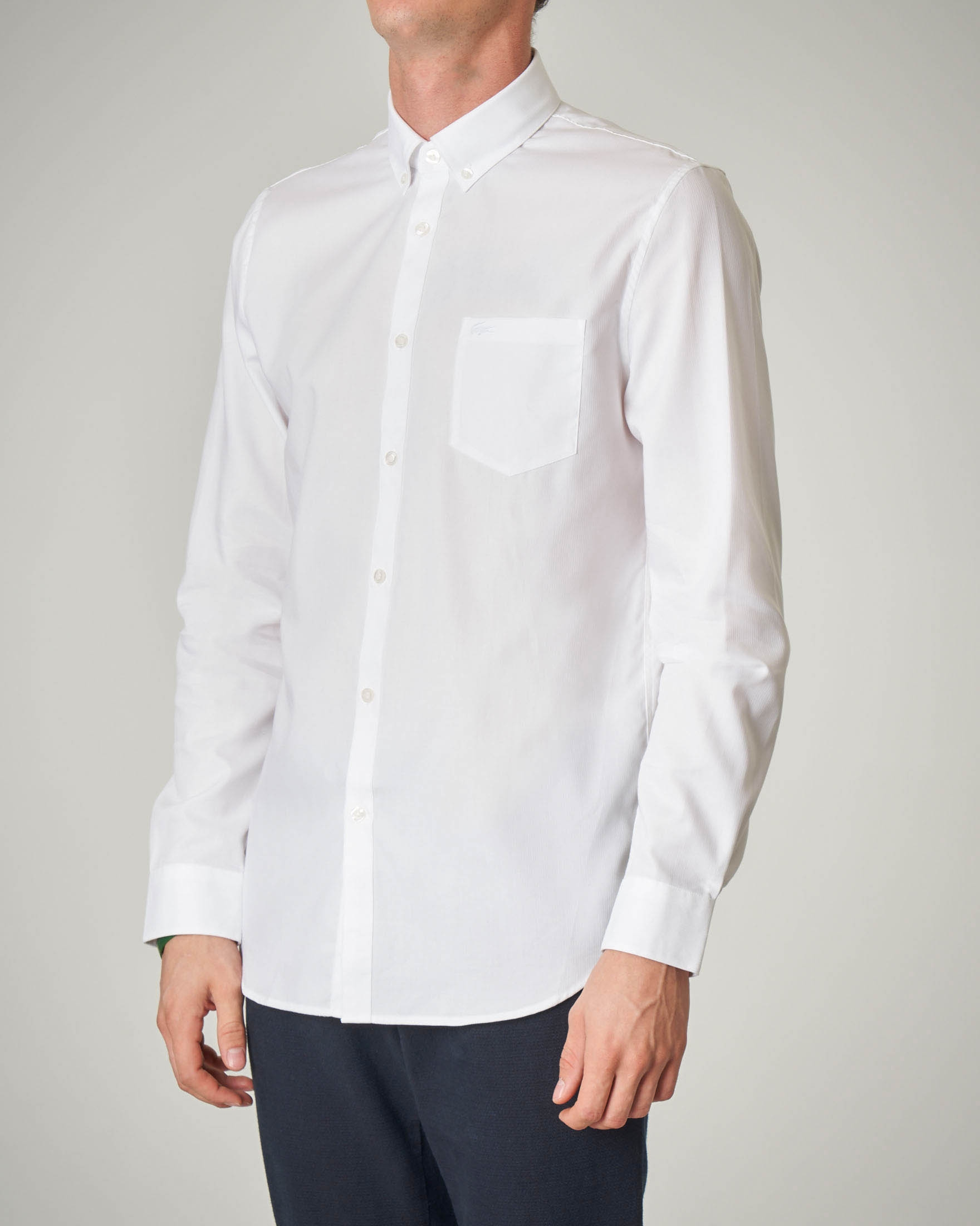 Camicia bianca button down con taschino
