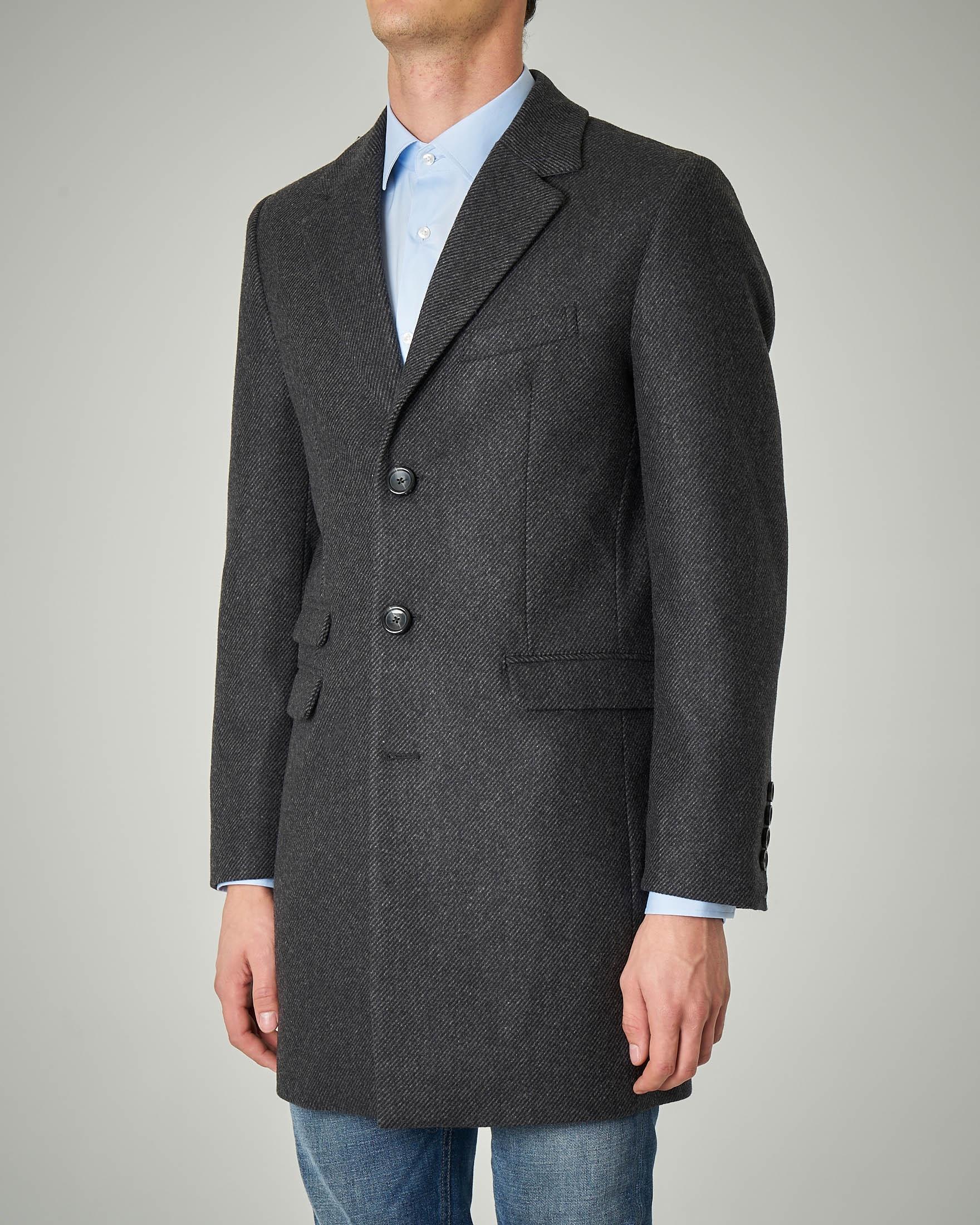 Cappotto grigio scuro in tessuto diagonale