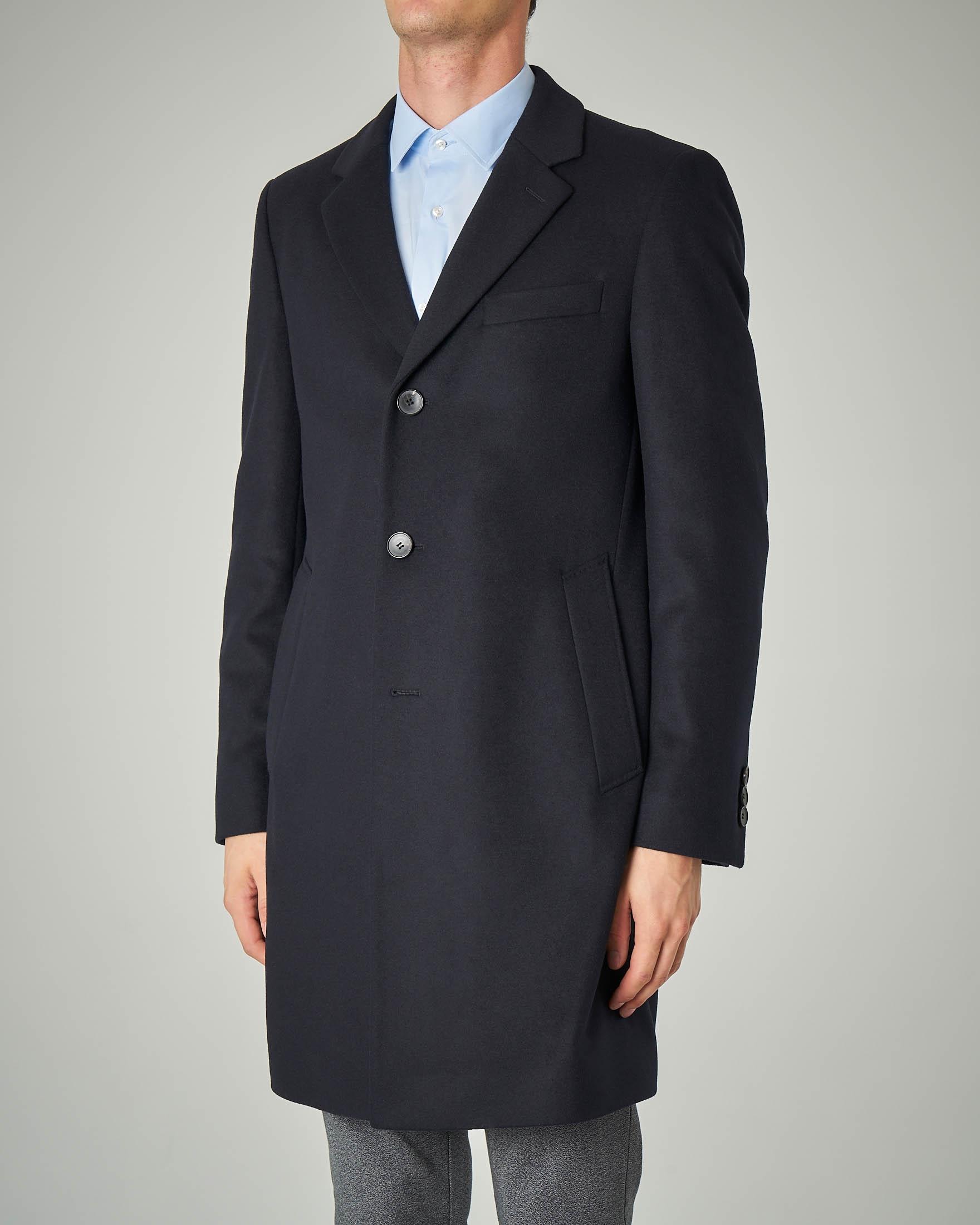 Cappotto blu in lana e cachemire rever classico