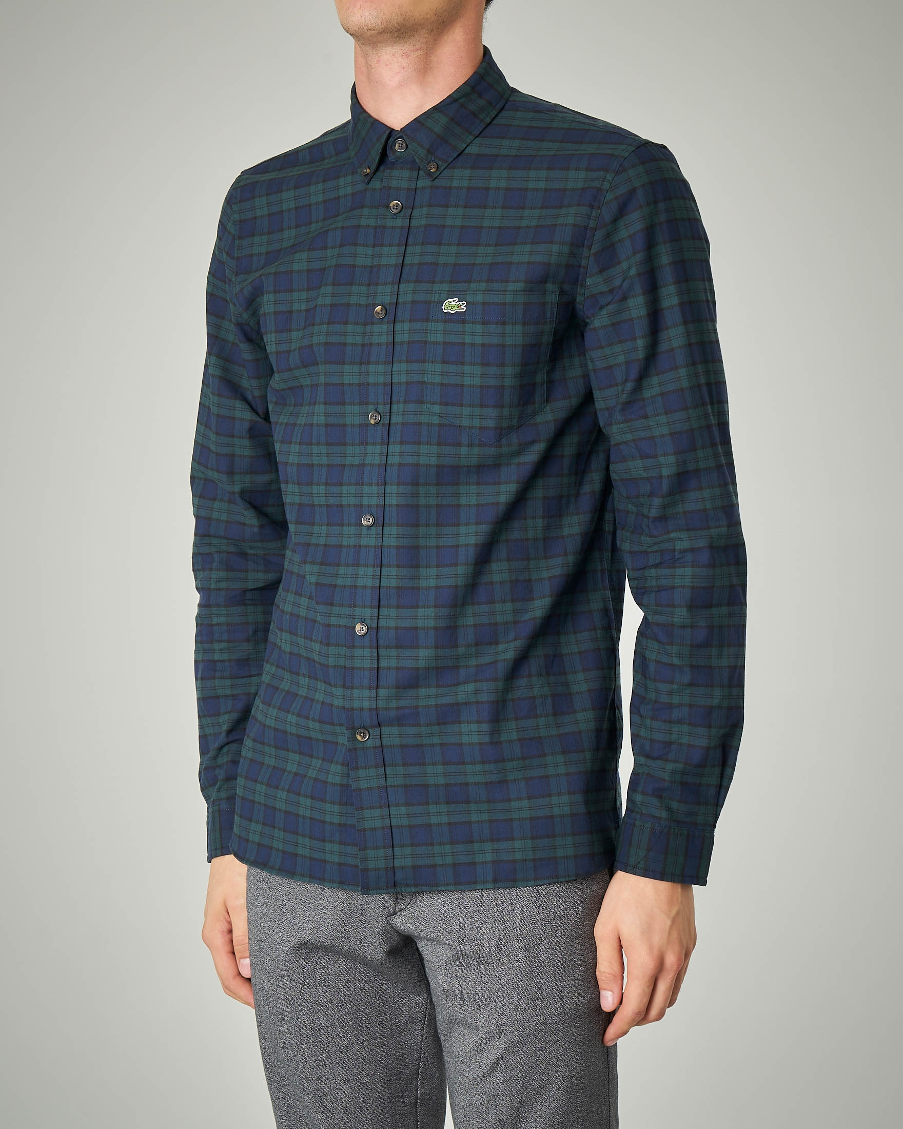 Camicia a quadri blu e verde button down con taschino
