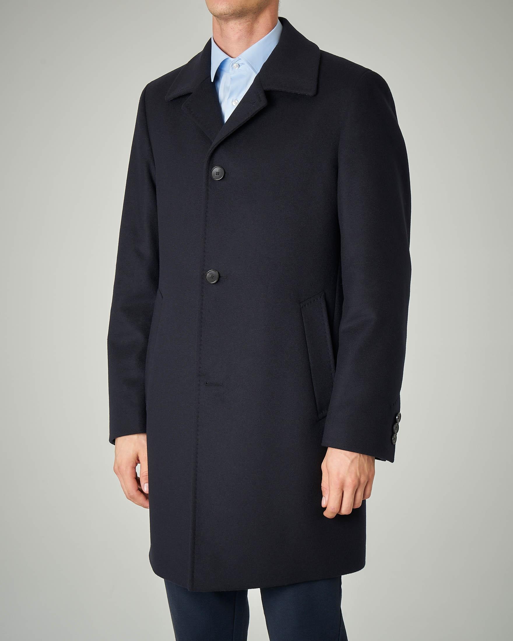 Cappotto blu in lana e cachemire