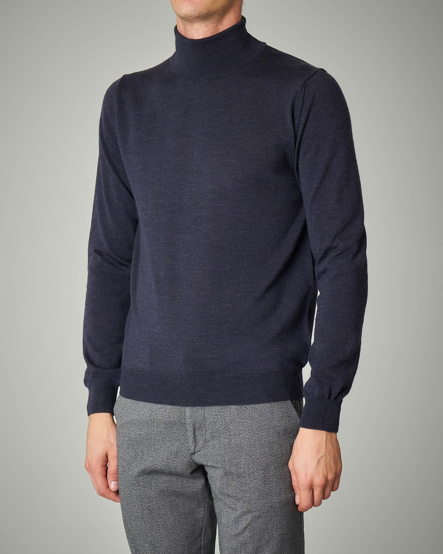 Dolcevita blu melange in lana merino