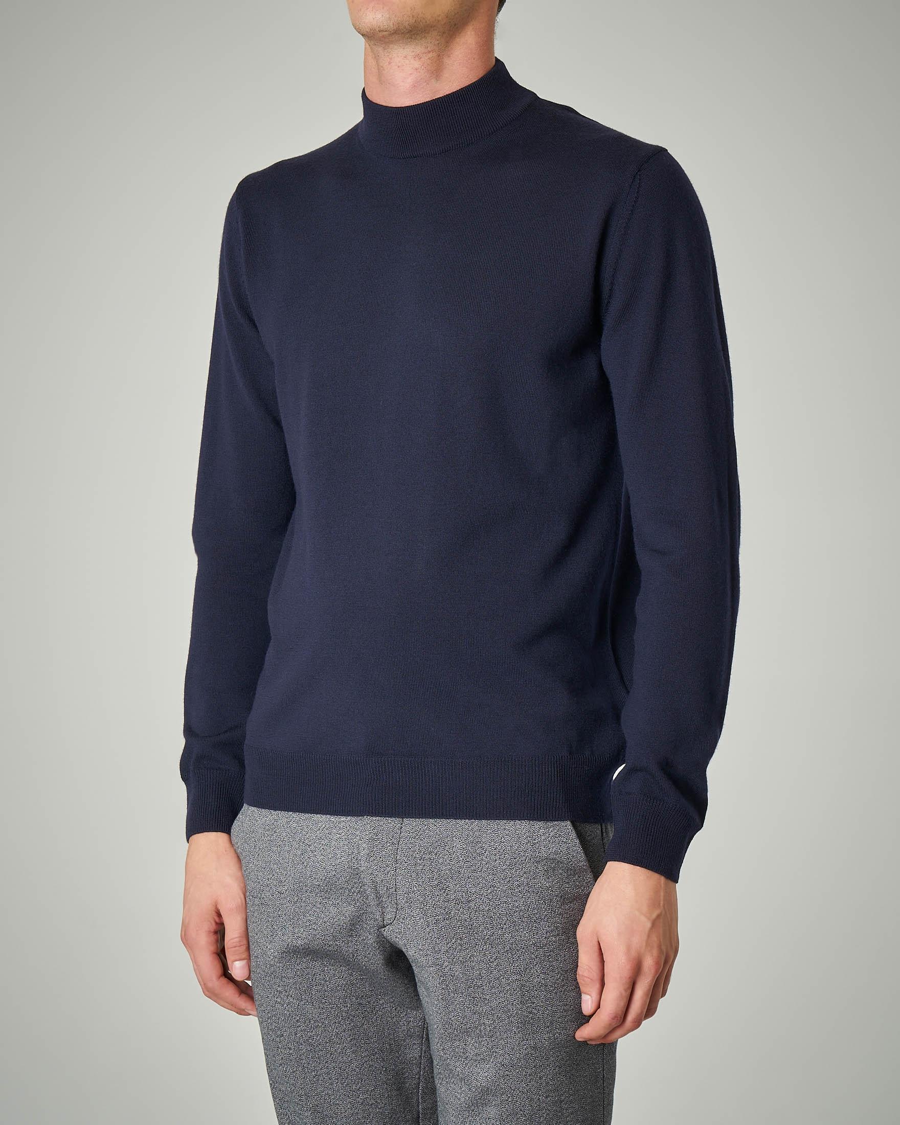 Lupetto blu in lana merino