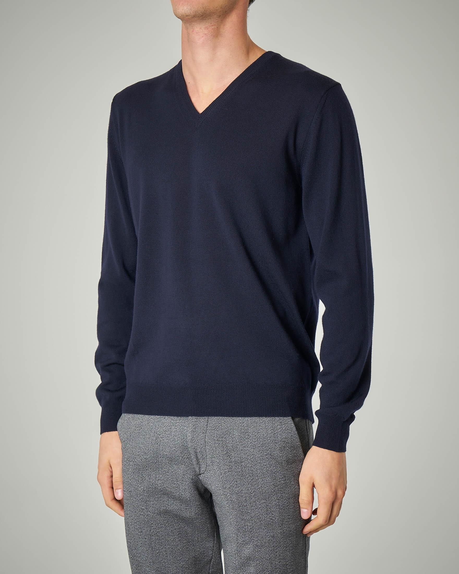 Maglia blu scollo a V in lana merino