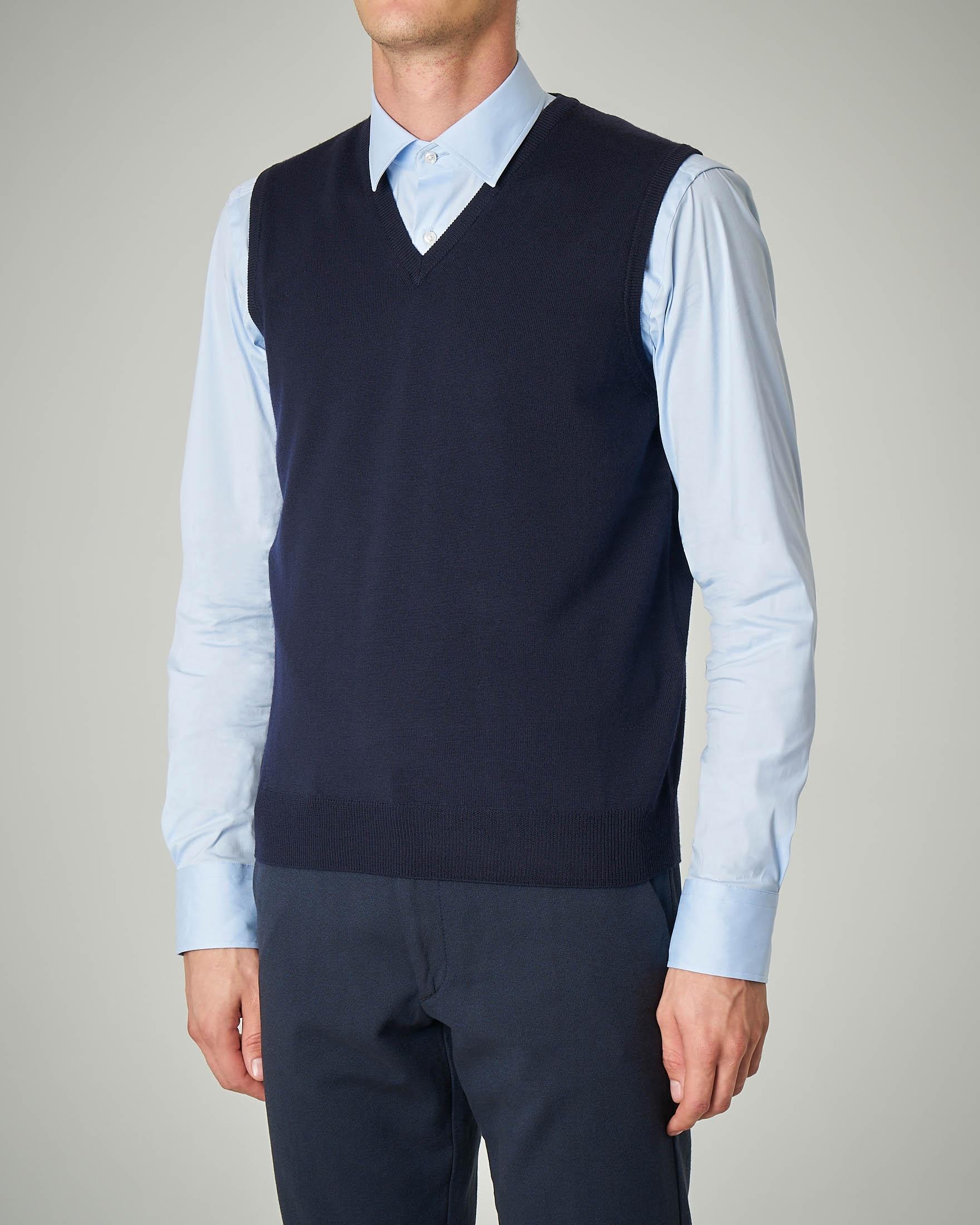 Gilet blu scollo a V in lana merino