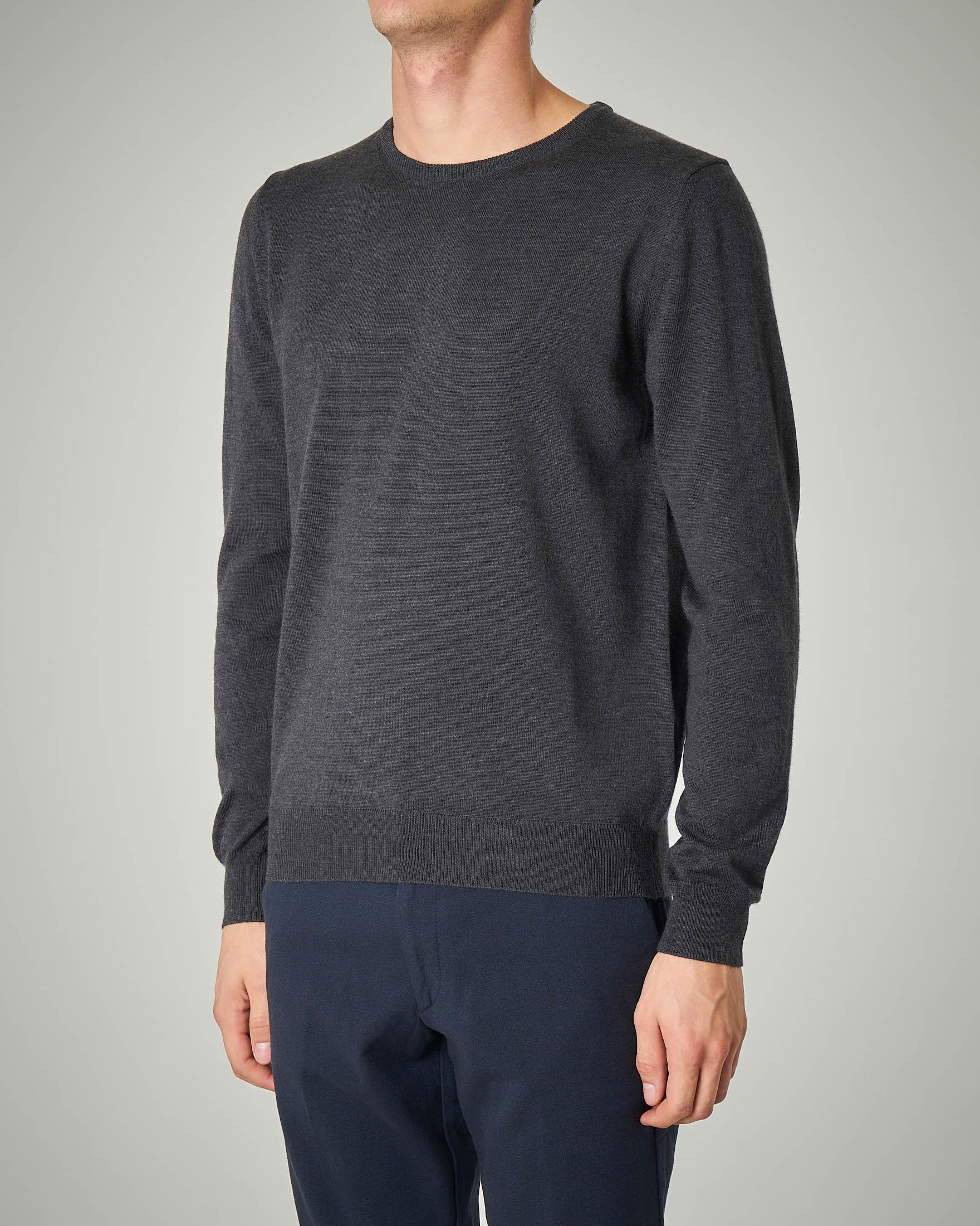 Maglia grigio scuro girocollo in lana merino