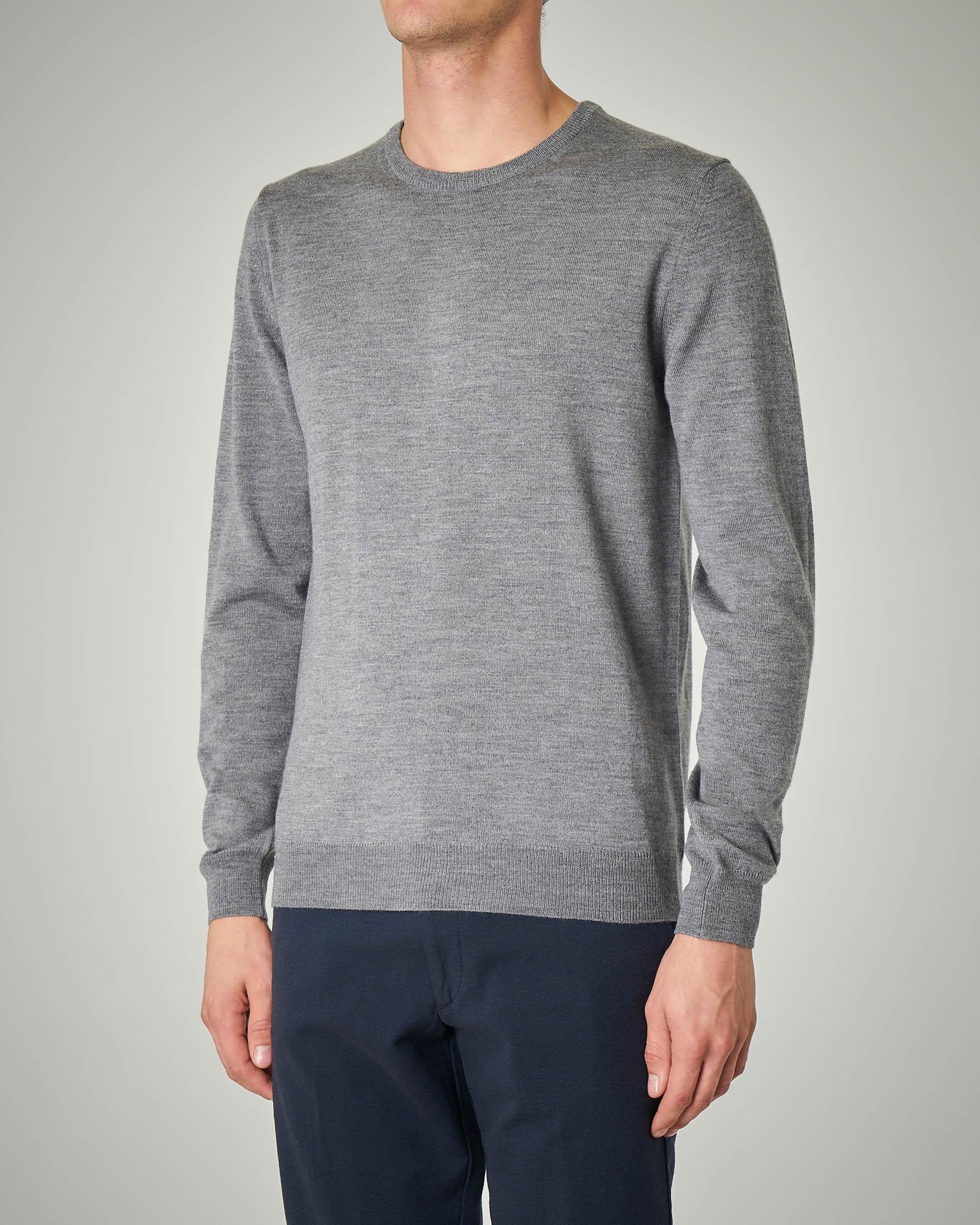 Maglia grigia girocollo in lana merino