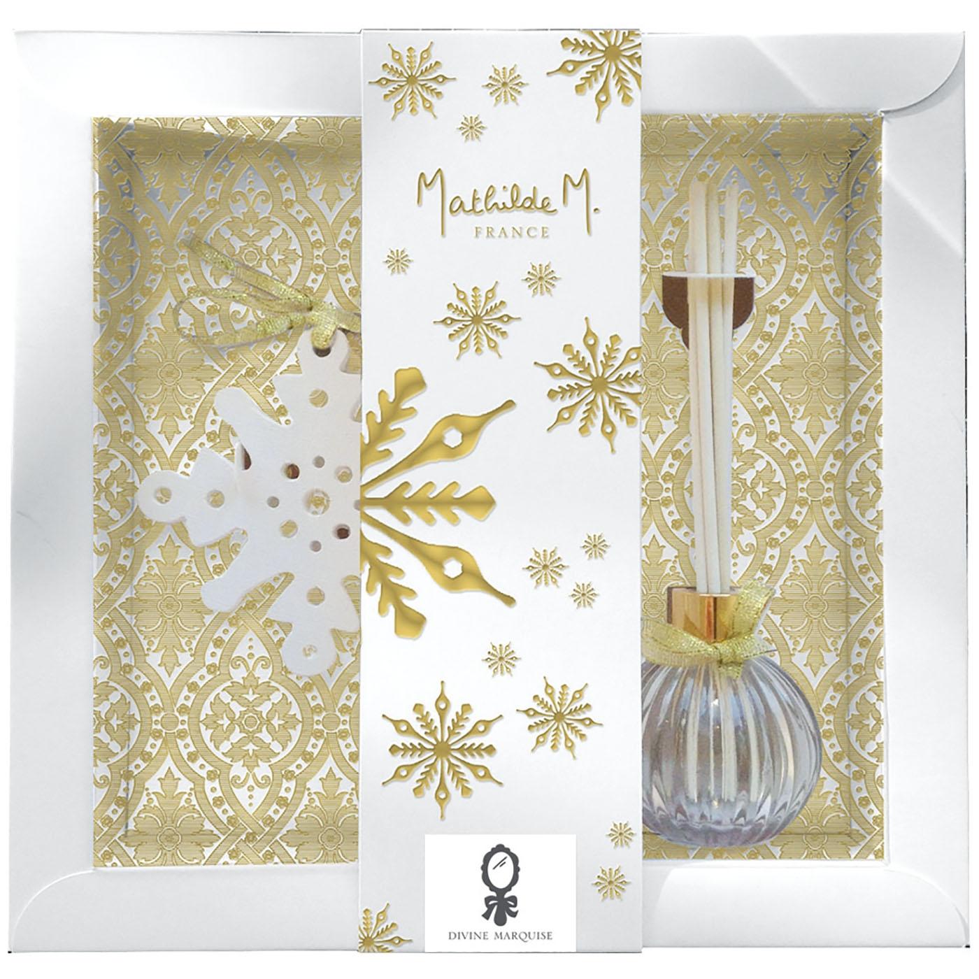 Cofanetto regalo con diffusore, bastoncini, decoro fiocco di neve. Flacone 100 ml Divine Marquise