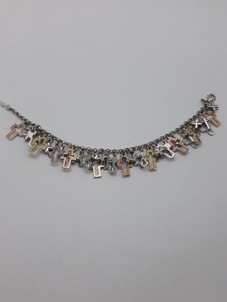 Bracciale donna charms con crocette in argento 925 con catena rollo, vendita on line   GIOIELLERIA BRUNI Imperia