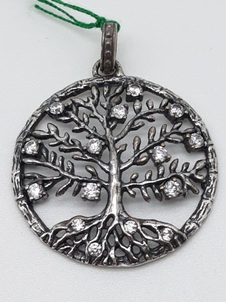 Ciondolo Donna Albero della Vita Crystal Tree in argento rodiato nero 925 con zirconi bianchi, vendita on line   GIOIELLERIA BRUNI Imperia