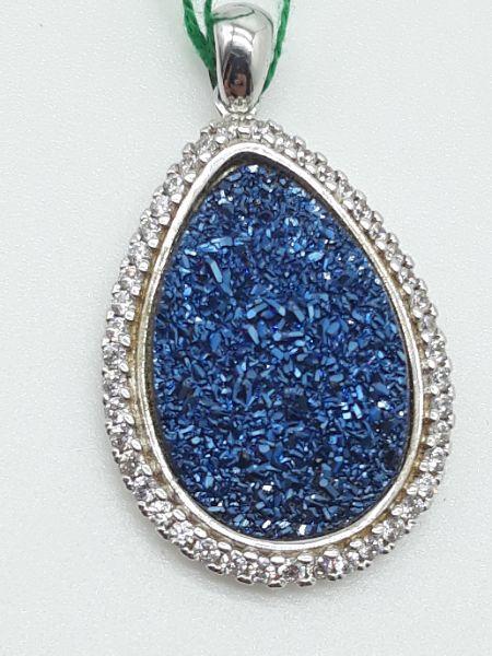 Ciondolo con geodi blu e zirconi in argento 925 | GIOIELLERIA BRUNI Imperia