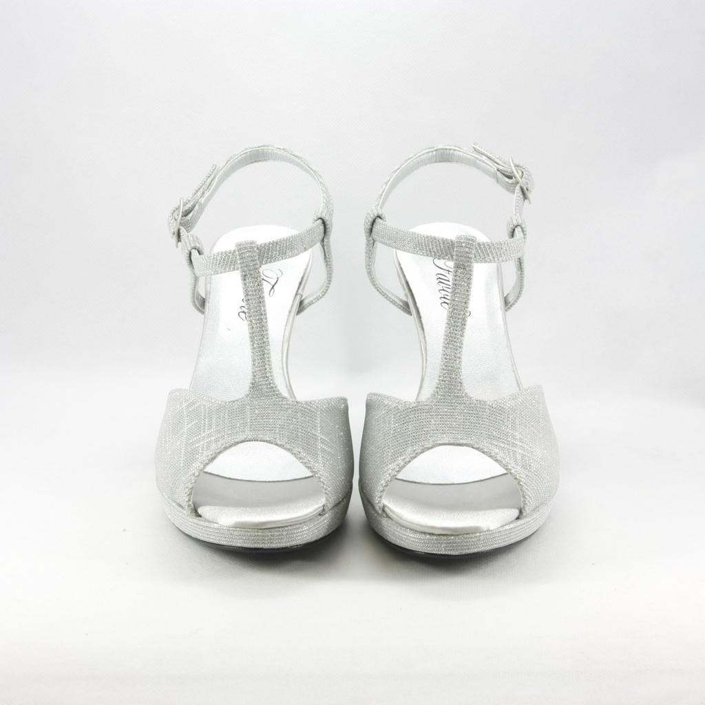 Sandalo donna elegante da cerimonia in tessuto glitter argento con cinghietta regolabile Art. ANNA Gi. Effe Ci.